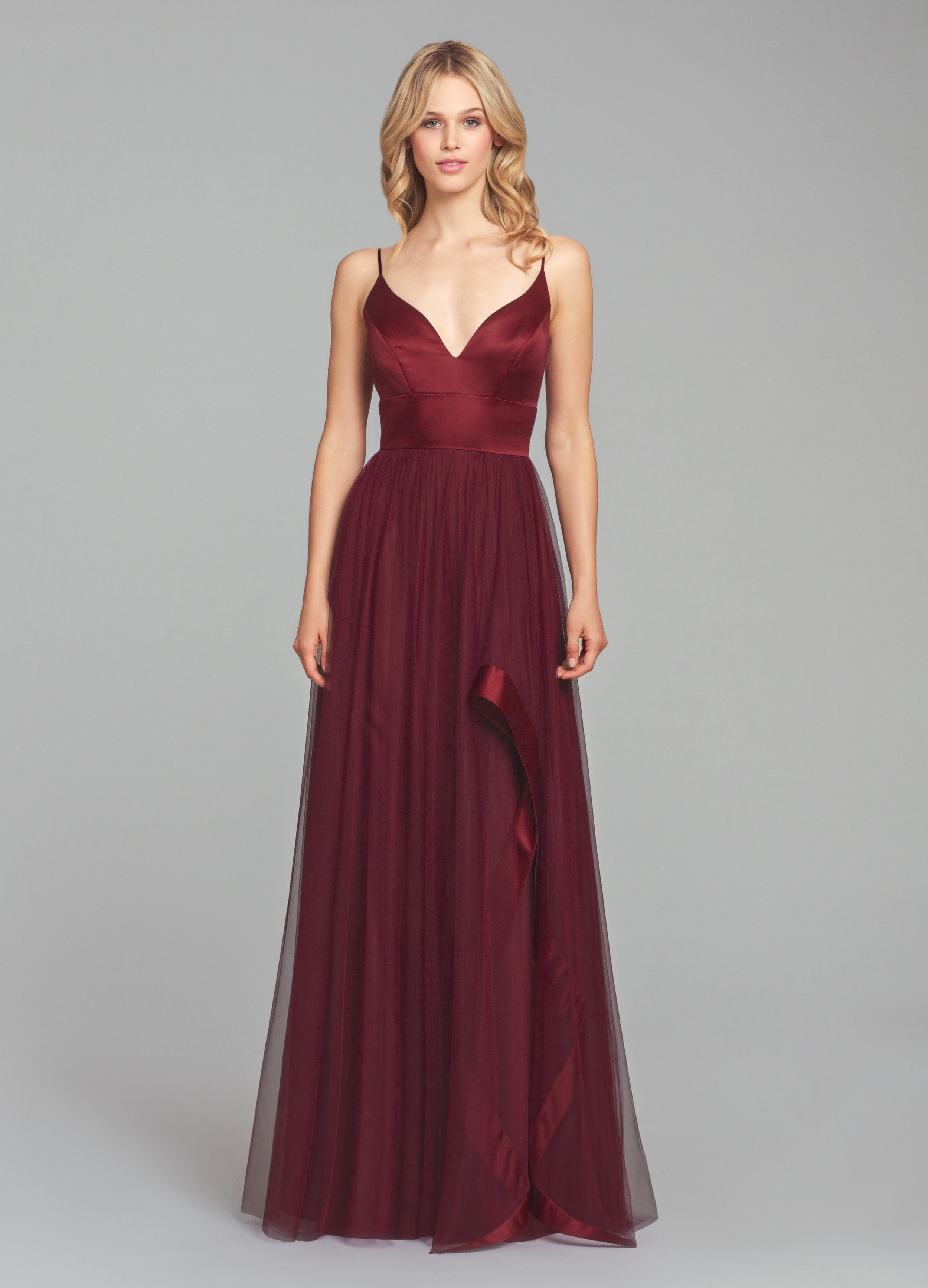 Hayley Paige Occasions Bridesmaids Style 5856 in burgundy satin bodice and English net tulle cascade detail in burgundy