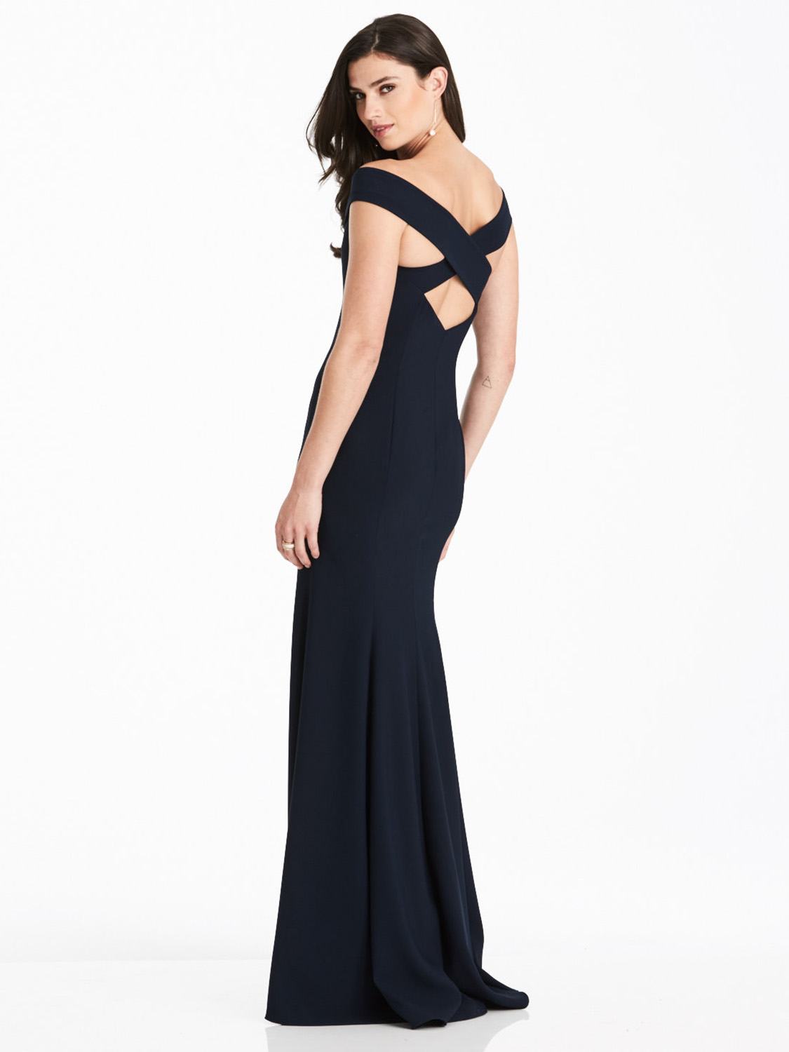 Criss cross back detail of Dessy group bridesmaid dress 3012