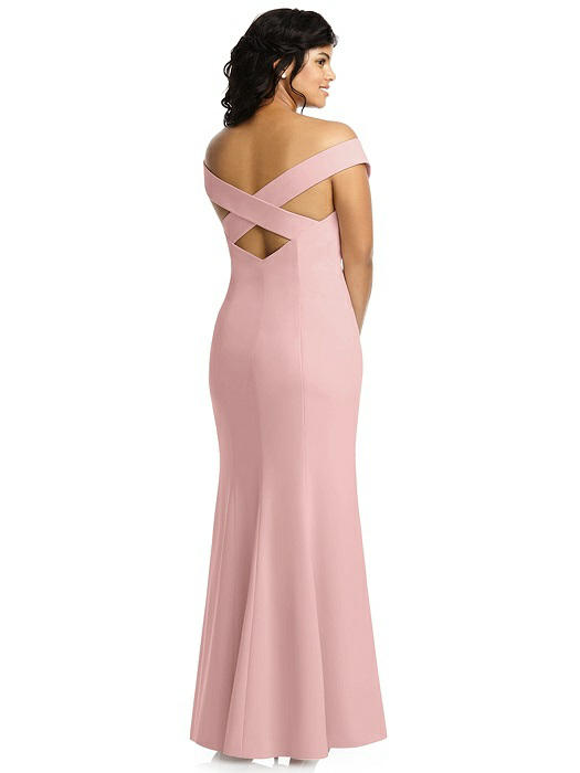Back of plus size model in 3012 style by dessy group in rose quartz blush crepe