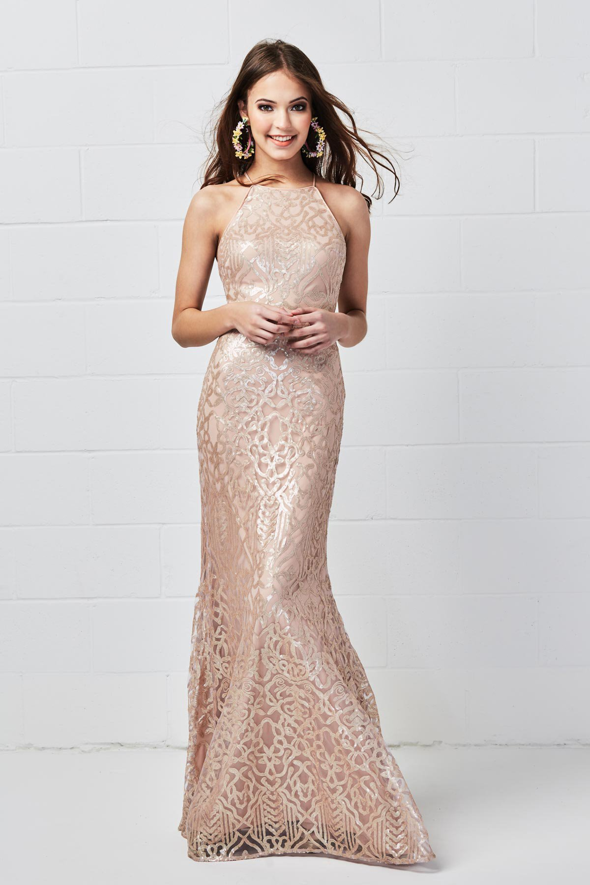 Halter style dress by Wtoo by Watters Bridesmaids in Talisa Sequin