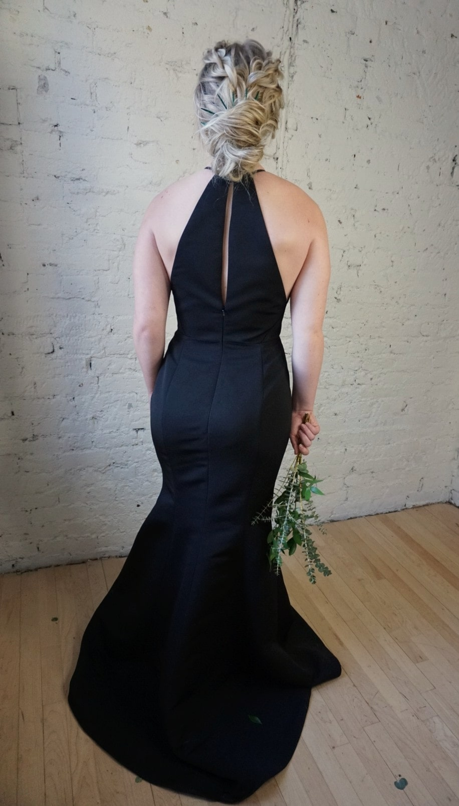 Back of mother of the bride dress by Amsale style Caroline