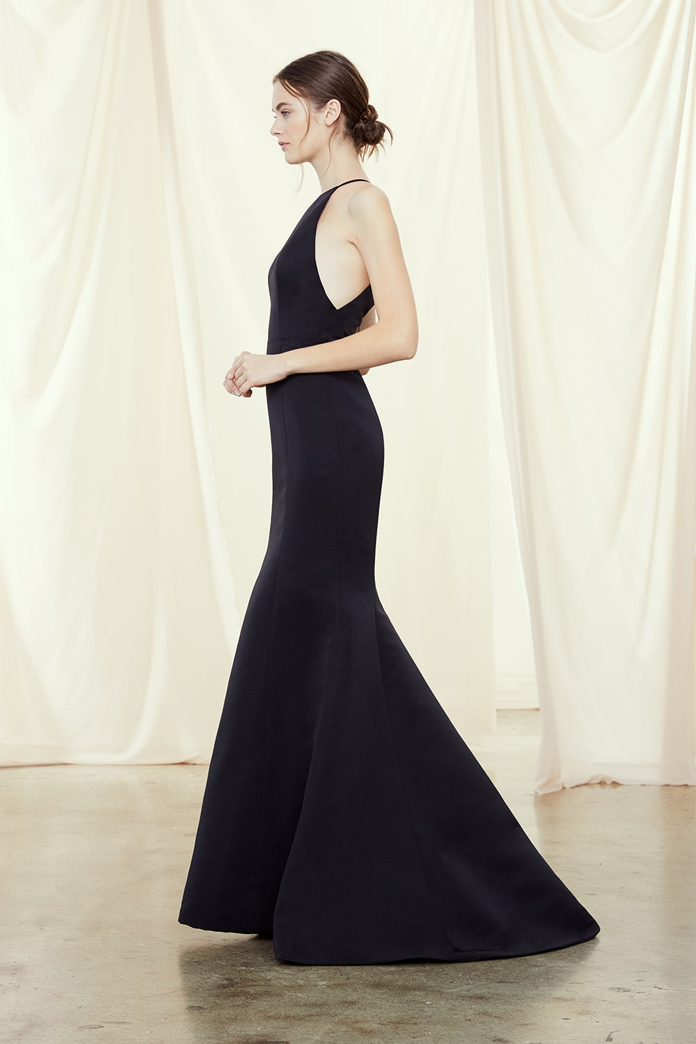 Black bridesmaid dress in Faille by Amsale style Caroline