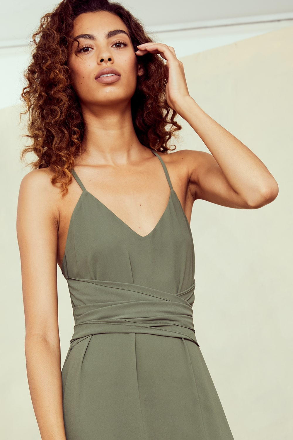 Close up of spaghetti strap and obi belt dress for Amsale Nouvelle Bridesmaids