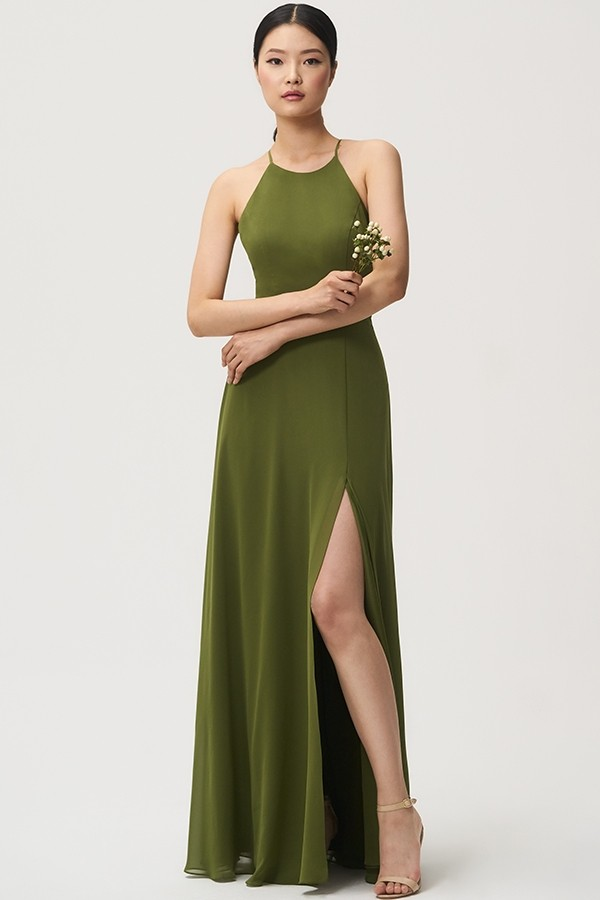 Kayla in kiwi chiffon by Jenny Yoo Bridesmaids