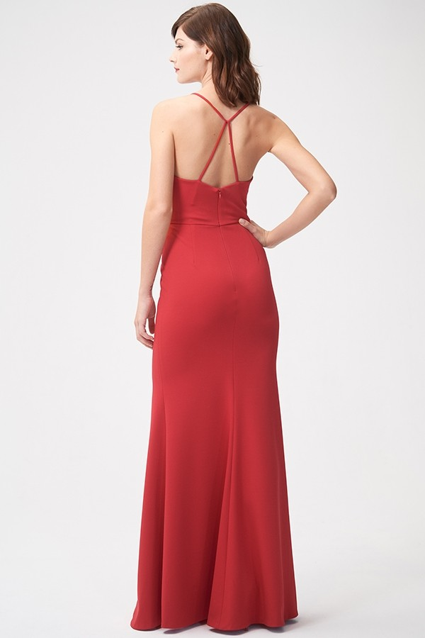 Back of Jenny Yoo Bridesmaids style Reese in scarlet red