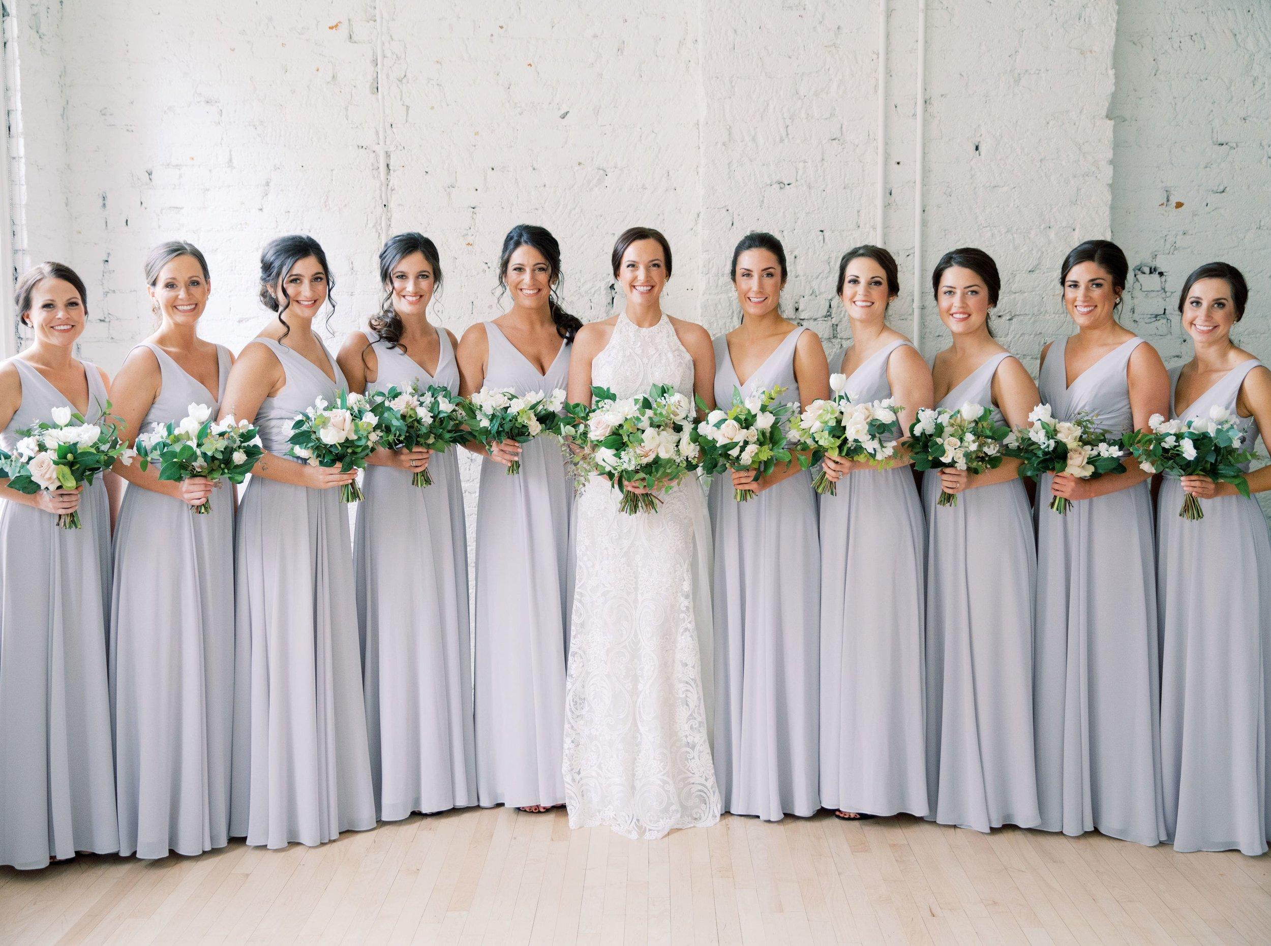 9a116aaed0607 Amsale Bridesmaids style Justine in Dove chiffon