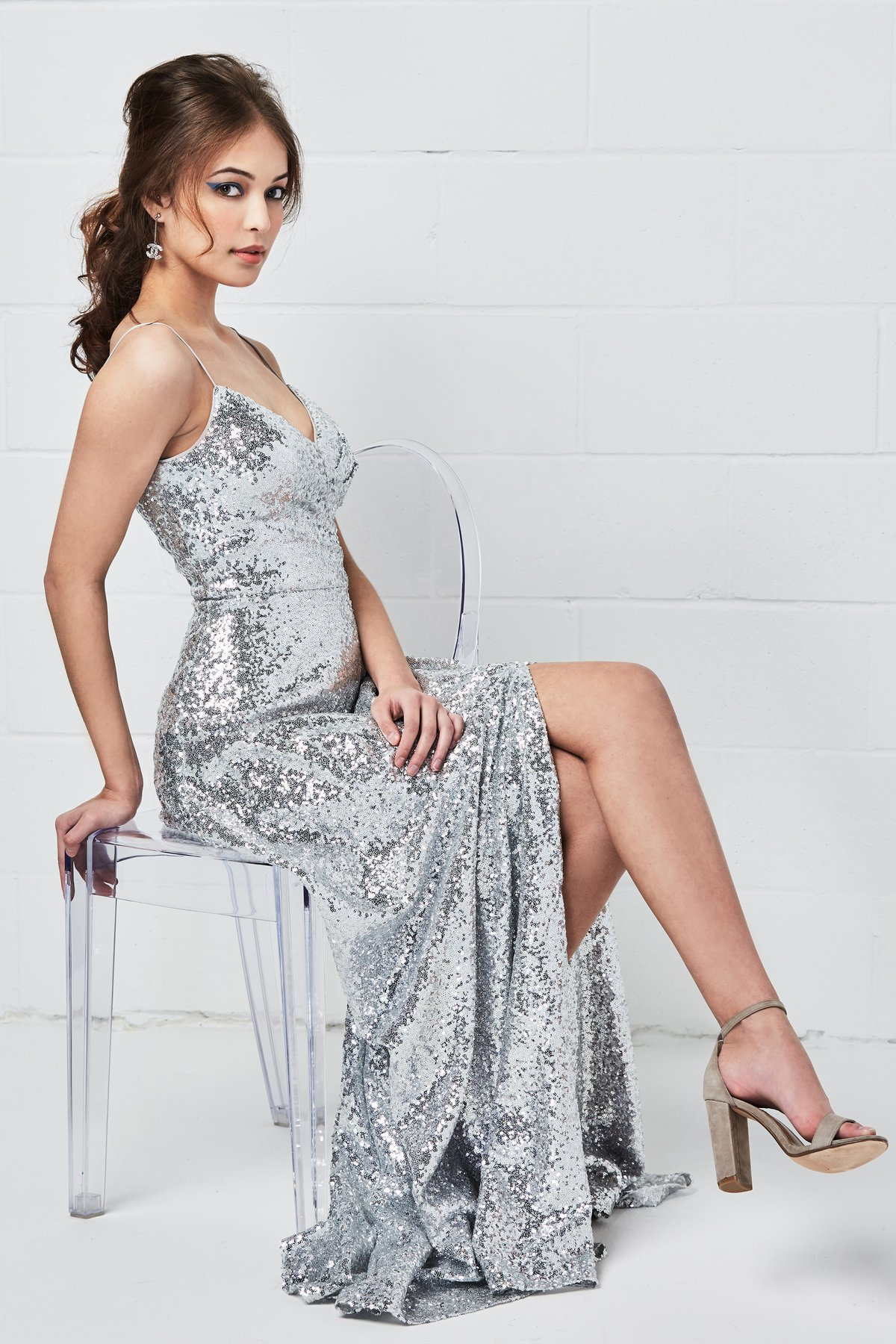 Sequin gown with a slit by Watters style Anzen