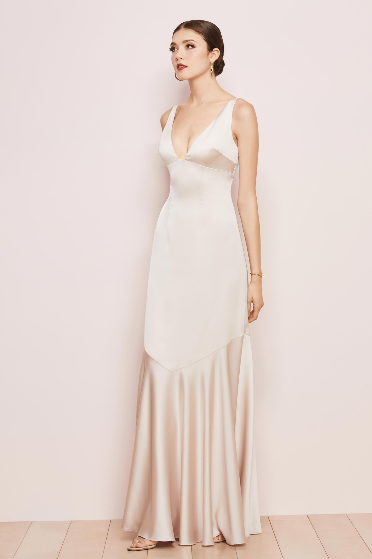 Watters Bridesmaids style 6808 Mason Deep V front and back with V seam at low hip fit to flare skirt