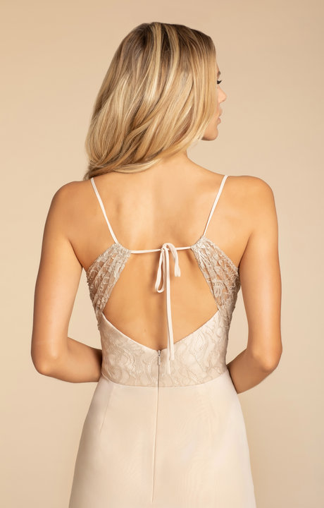 back tie back detail in champagne lace on style 5905 by Hayley Paige Bridesmaids