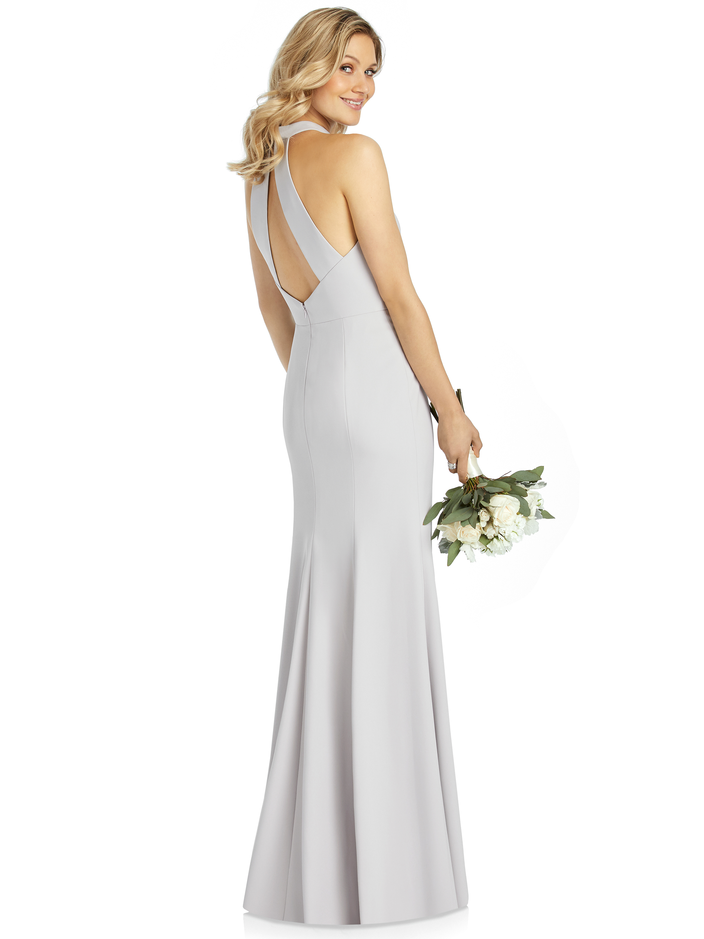 Back of Meghan Markle inspired Dessy After Six Style 6808 in crepe