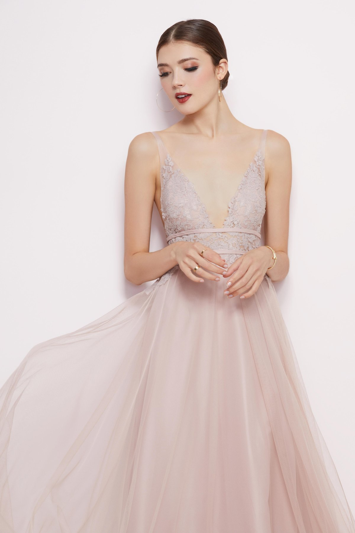 Close up of front of Brielle deep v lace and tulle dress by Watters Bridesmaids
