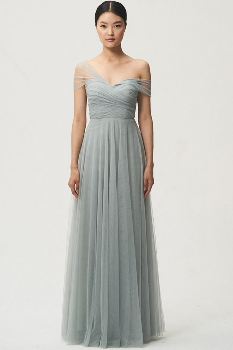Julia convertible dress by Jenny Yoo Bridesmaids in morning mist tulle