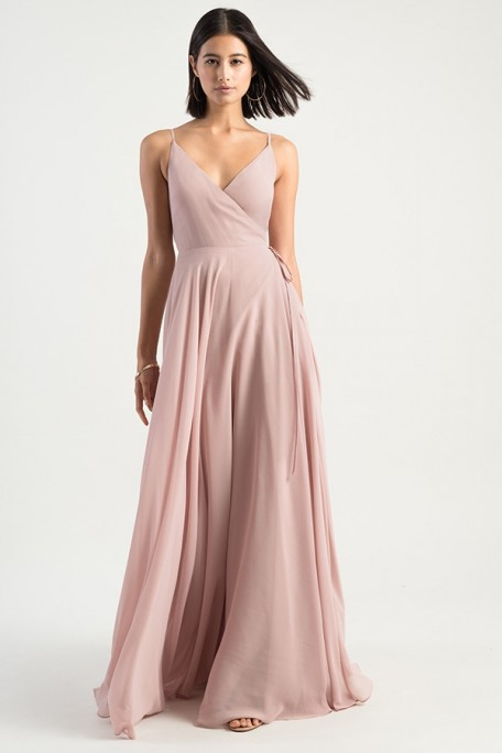 James wrap style dress by Jenny Yoo Bridesmaids with simple neckline and v back detail