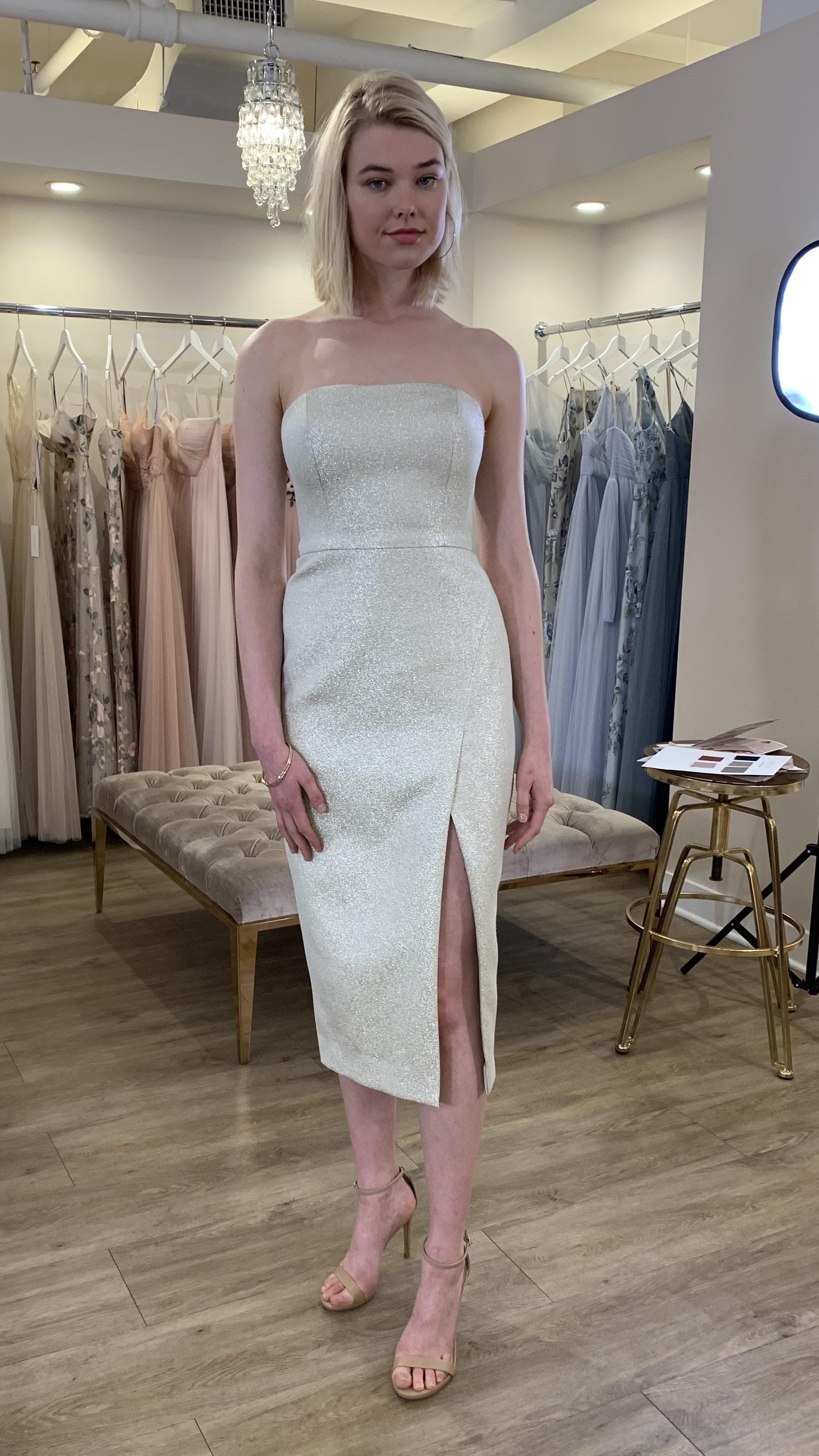 Gold Metallic Short Dress by Jenny Yoo