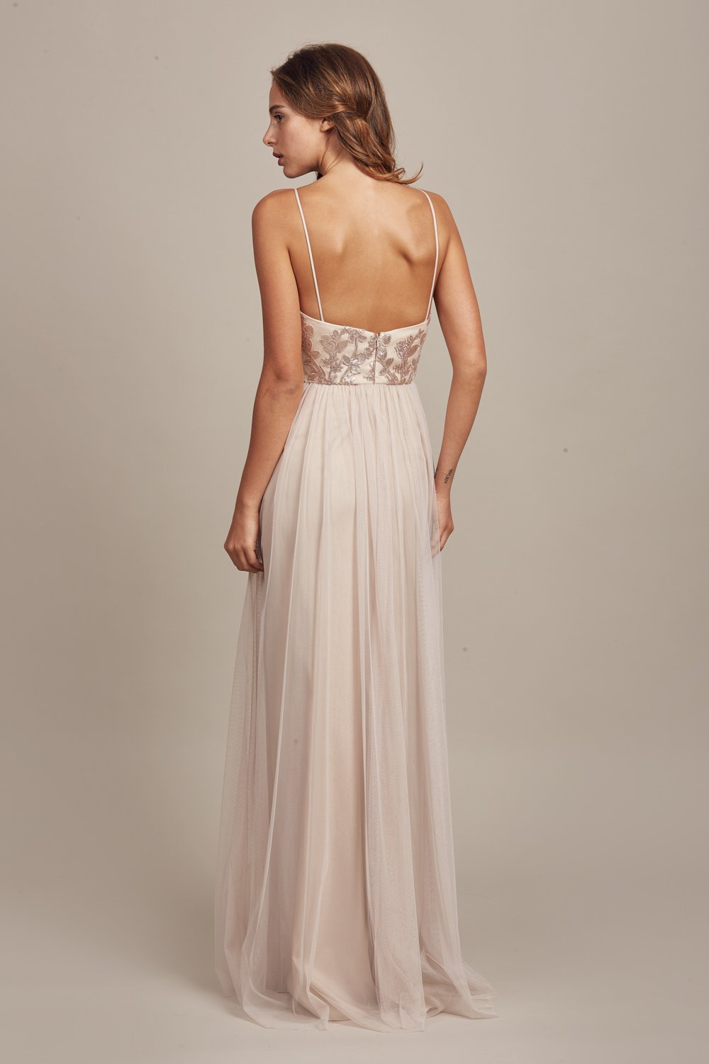 Back of Sora by Amsale Bridesmaids in fawn sequin lace and tulle