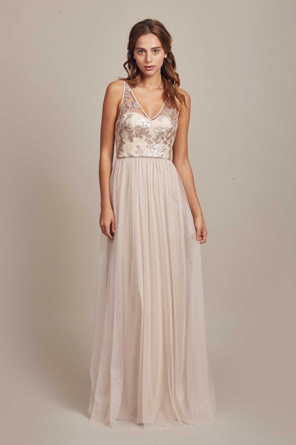 Sora in sequin lace and tulle by Amsale Bridesmaids