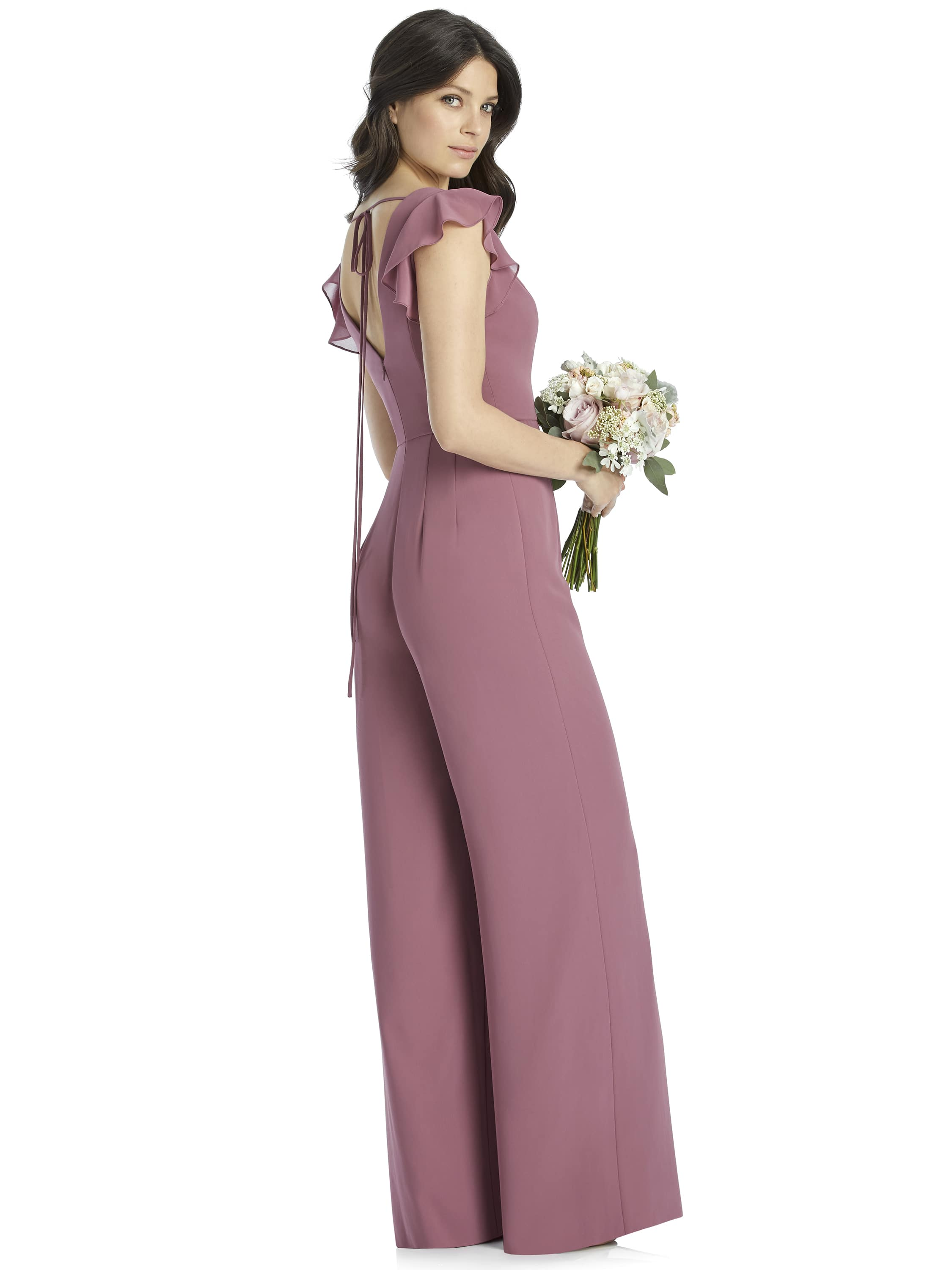 Side view of jumpsuit style 3047 by Dessy Collection in English Rose chiffon for bridesmaids