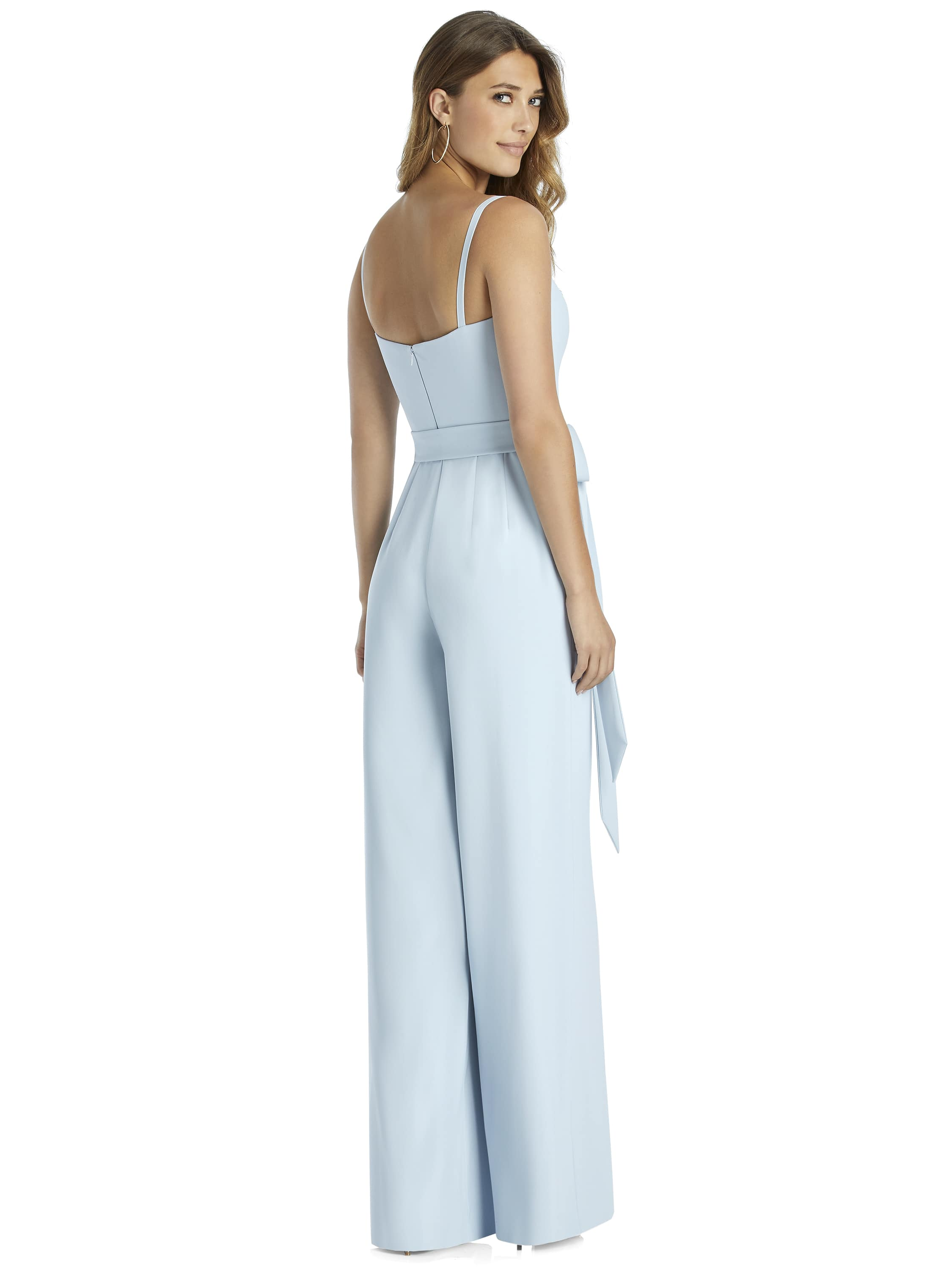 Back of 3045 style jumpsuit by Dessy Group with bow detail