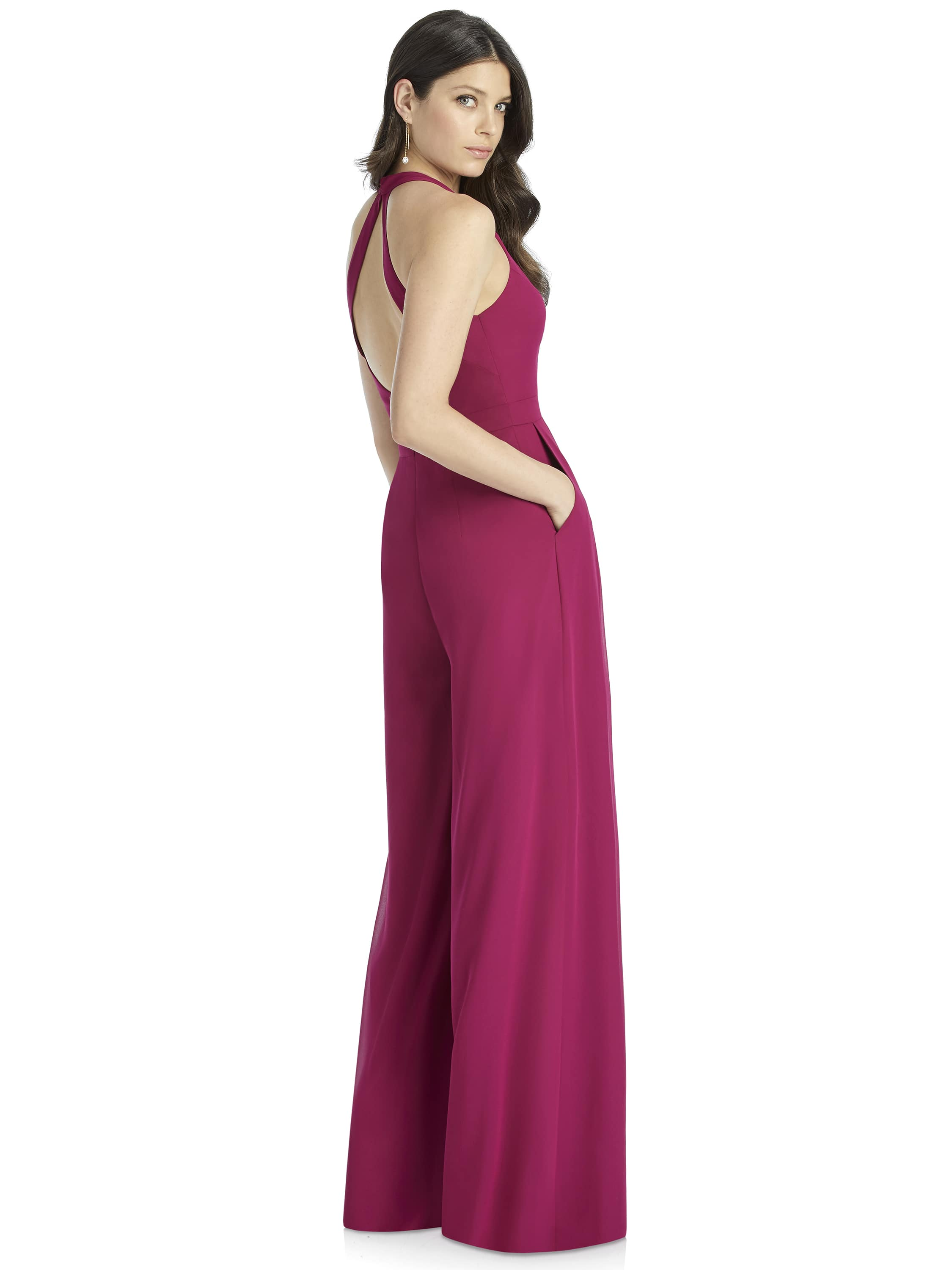 back of halter style jumpsuit for bridesmaids by Dessy Group in Columbus Ohio
