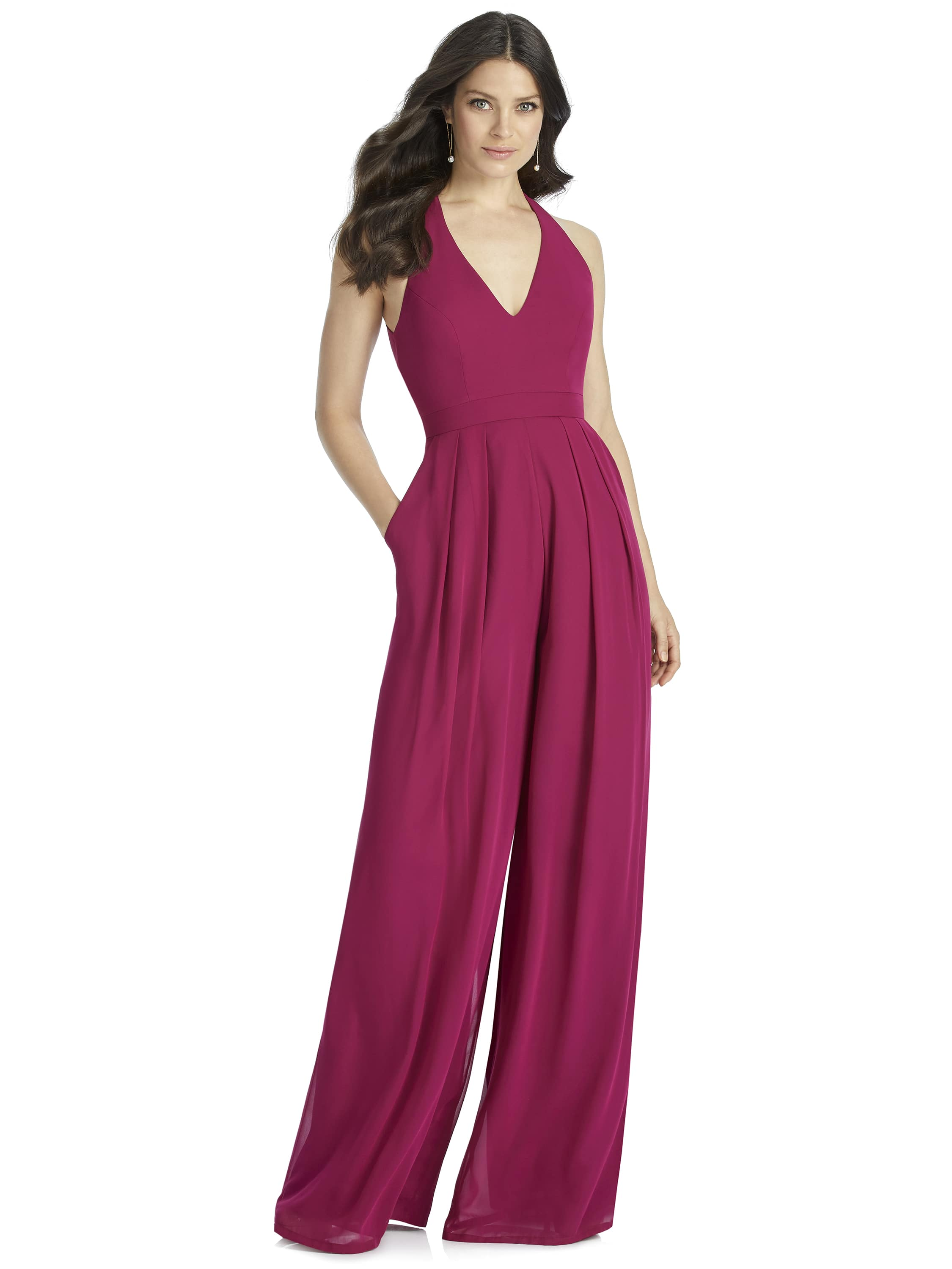 Halter jumpsuit in lux chiffon by Dessy Group style 3046