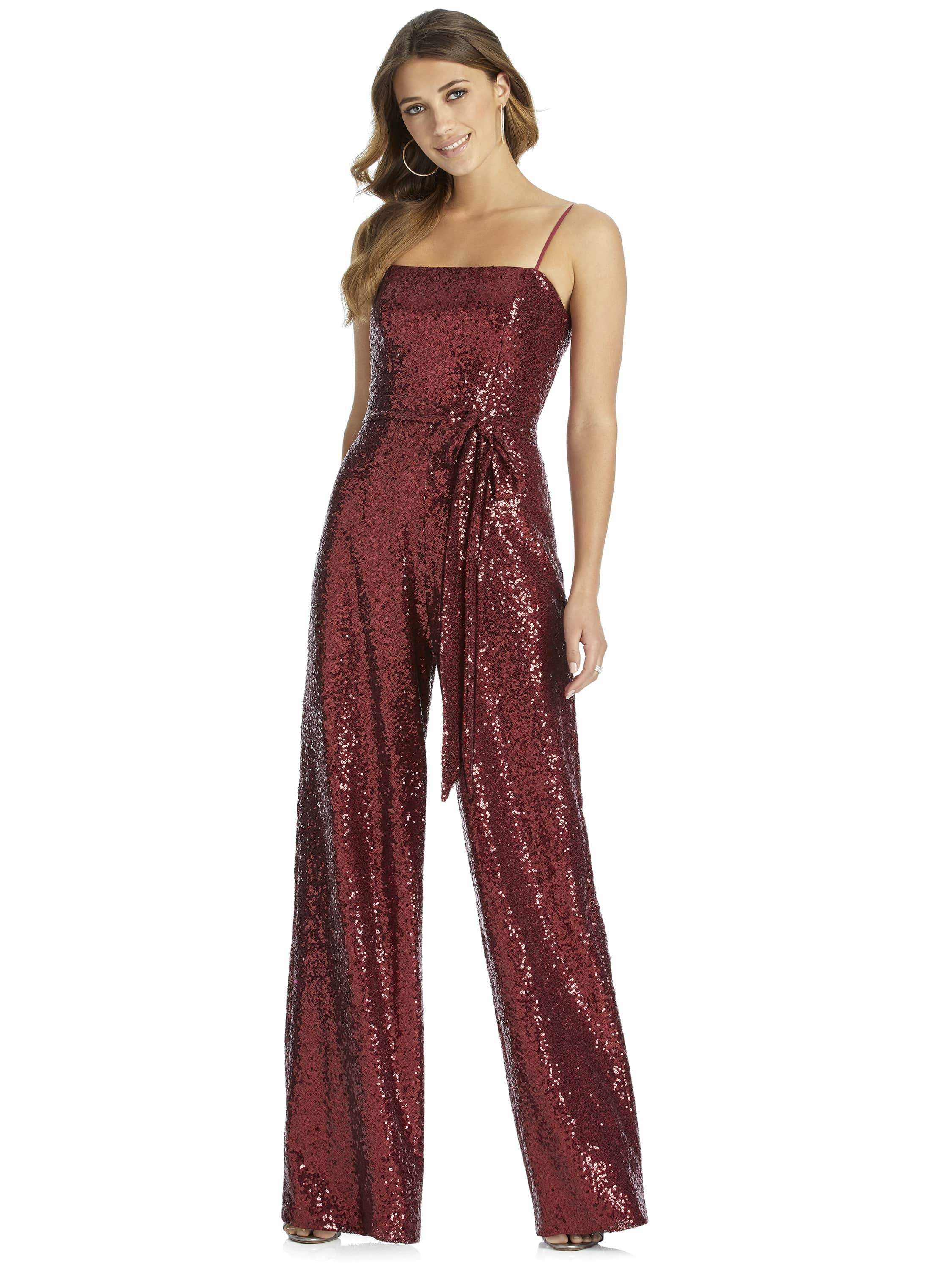 Bow detail jumpsuit with spaghetti straps by Dessy Group Bridesmaids style 3048