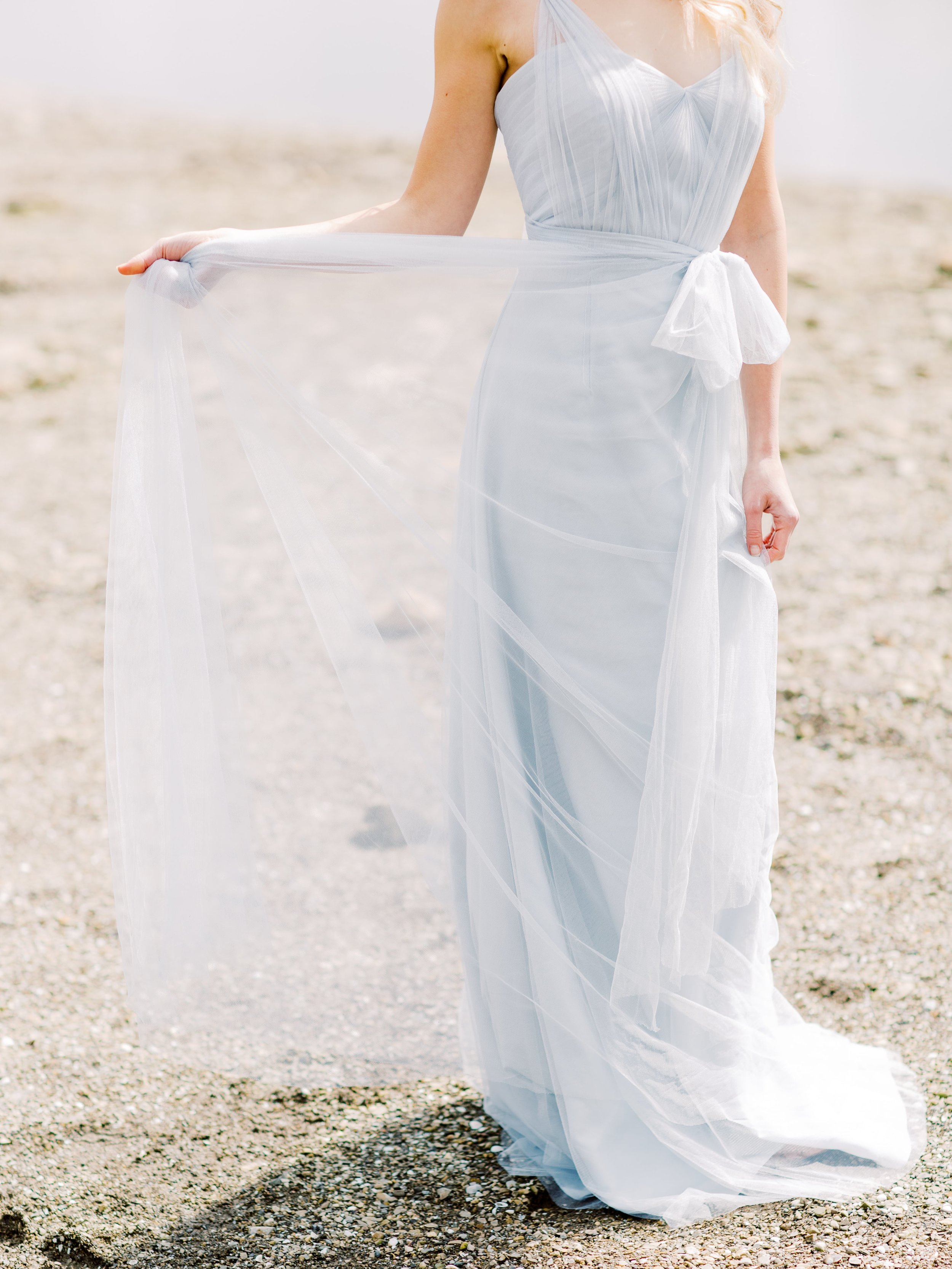 Convertible style Annabelle in soft tulle serenity blue color by Jenny Yoo