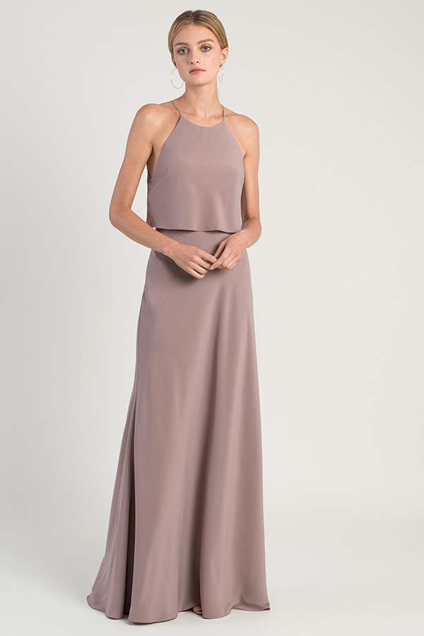Elle by Jenny Yoo Bridesmaids in fig crepe de chine