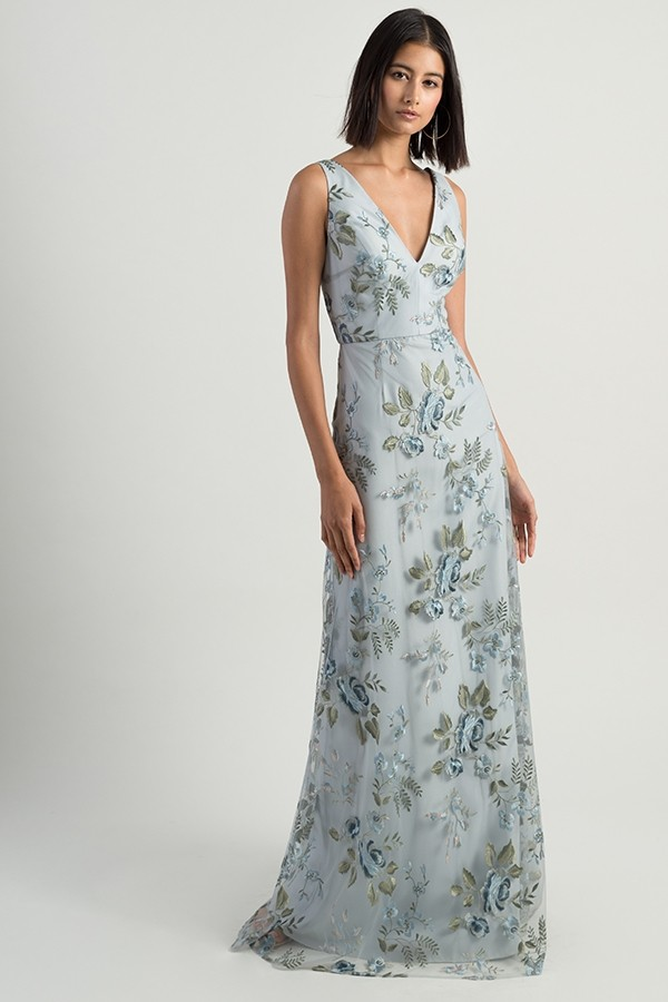 V neck wide strap Tatum Dress in serenity blue embroidered floral print by Jenny Yoo Bridesmaids at Gilded Social