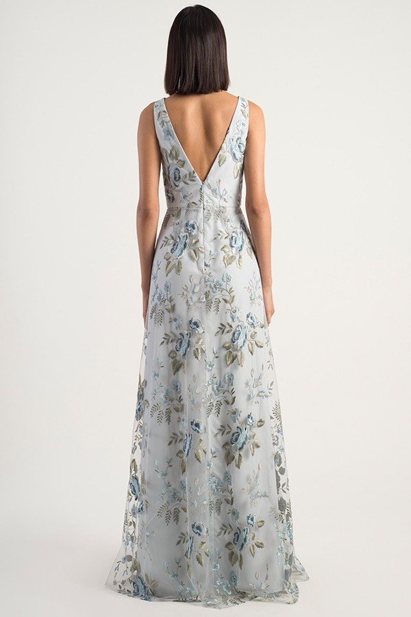 Back of V neck Tatum Dress by Jenny Yoo Bridesmaids in Serenity Blue embroidery