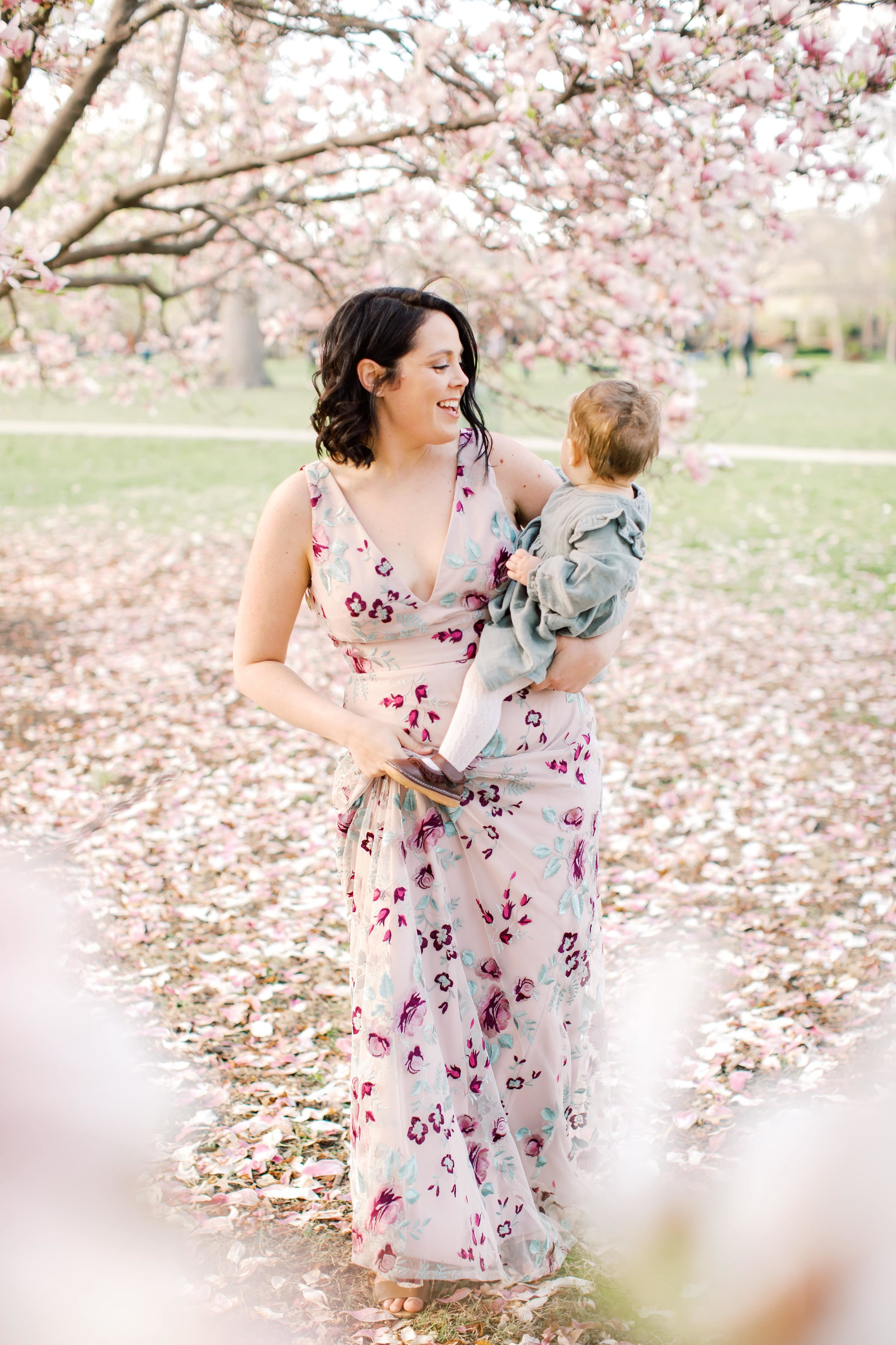 Mother and Daughter in family photos with rented dress from Gilded Social