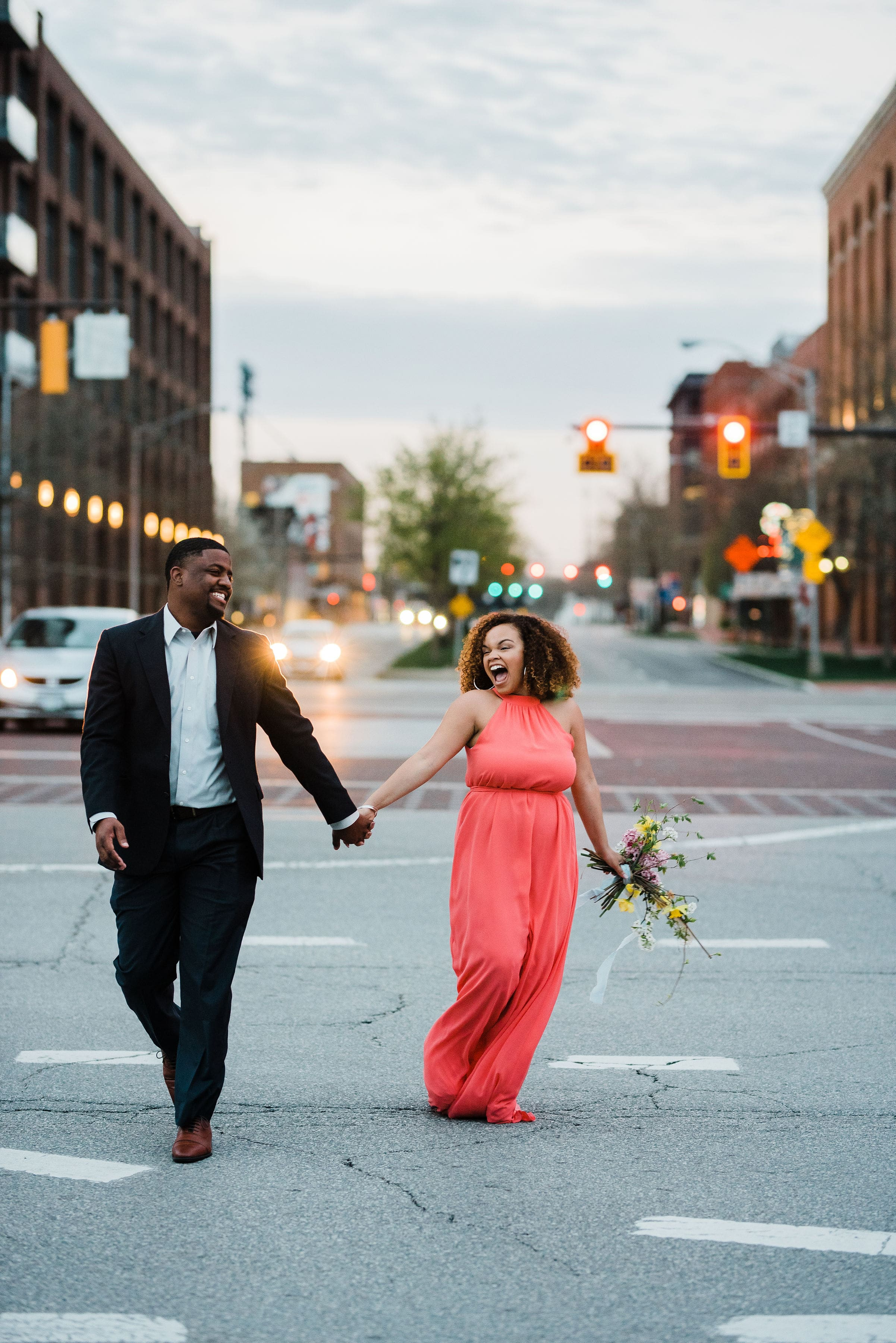 Engagement photo featuring Joanna August dress rented from Gilded Social