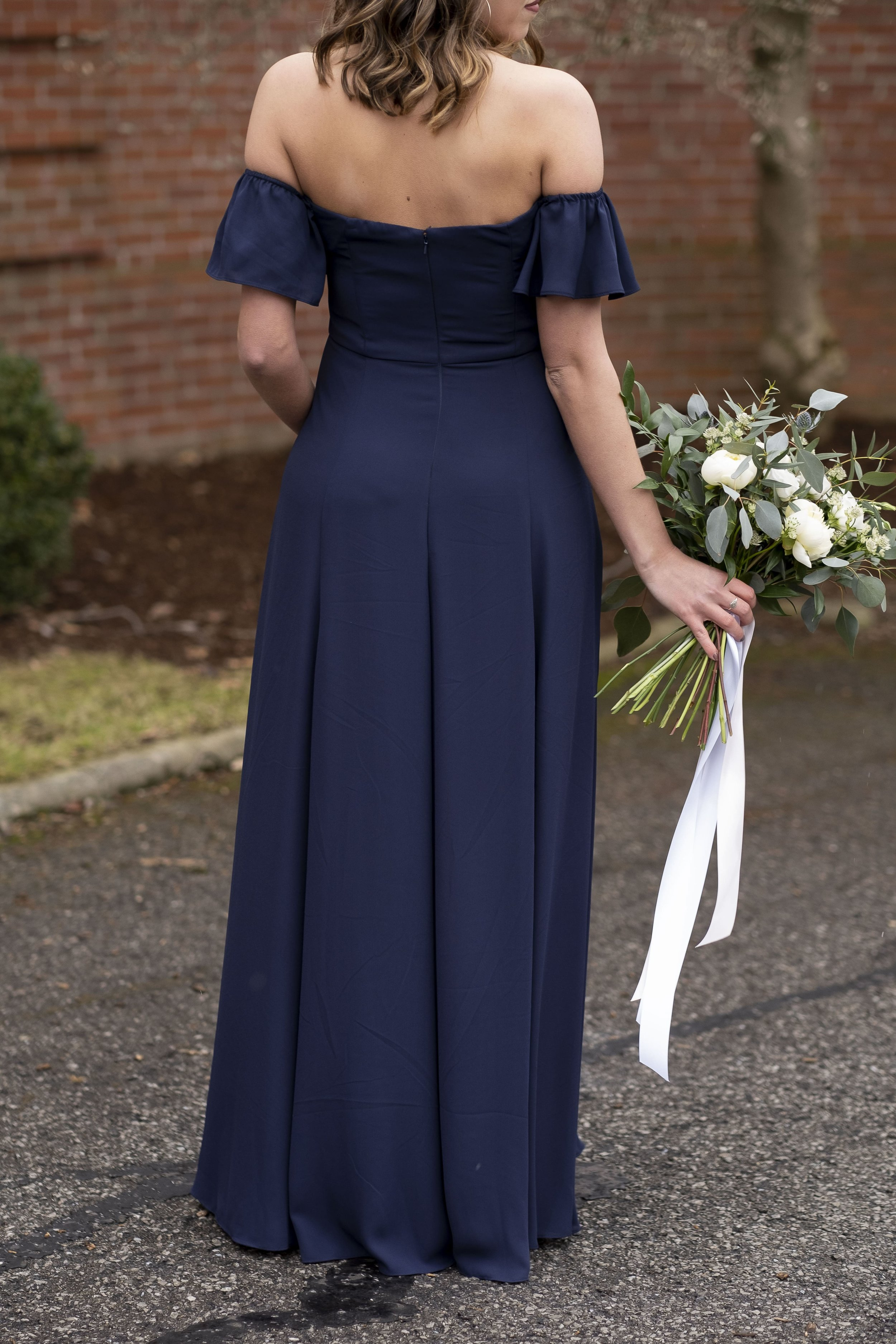 Back of Baylie Style in Navy Melody Georgette by Watters Bridesmaids line Wtoo