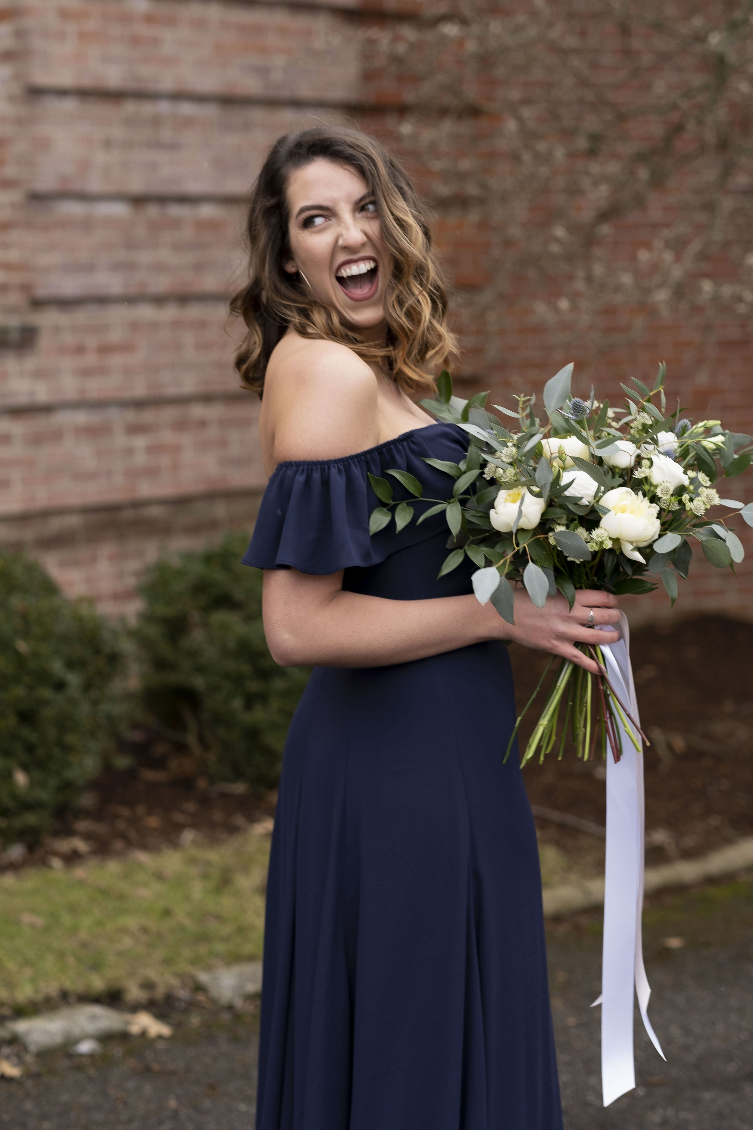 Bridesmaid smiling in Baylie style by WTOO by Watters in Columbus Ohio