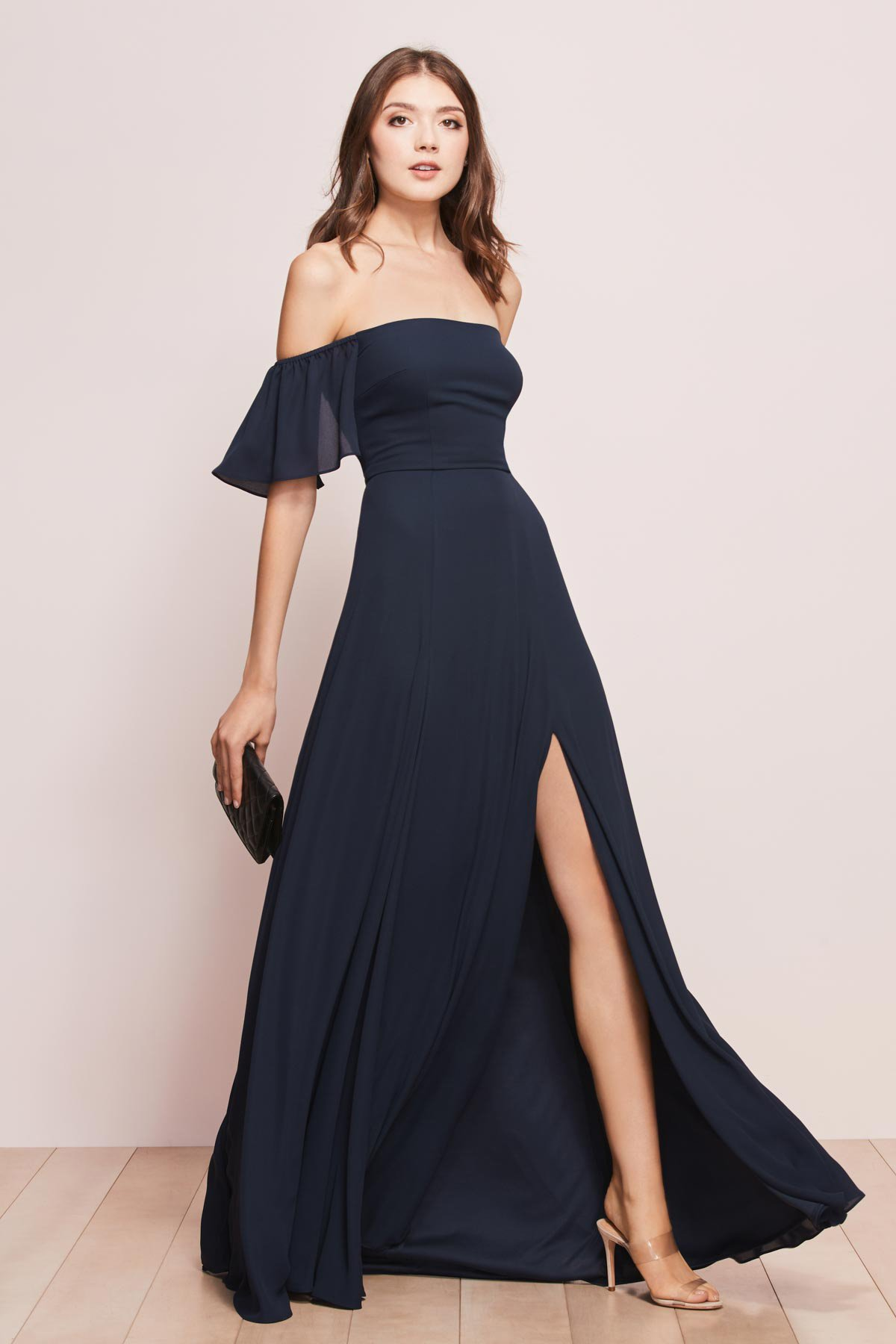 WTOO by Watters Bridesmaids style 755 Baylie strapless a line full length dress with large cold shoulder and slit