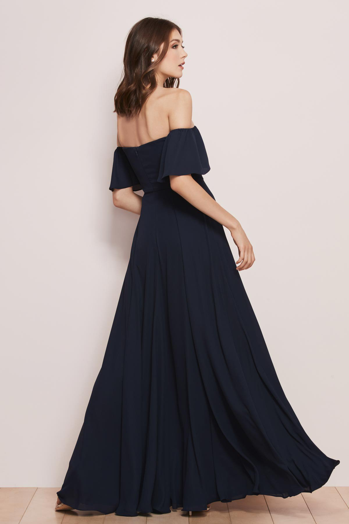 Back of off the shoulder gown by WToo in navy melody georgette