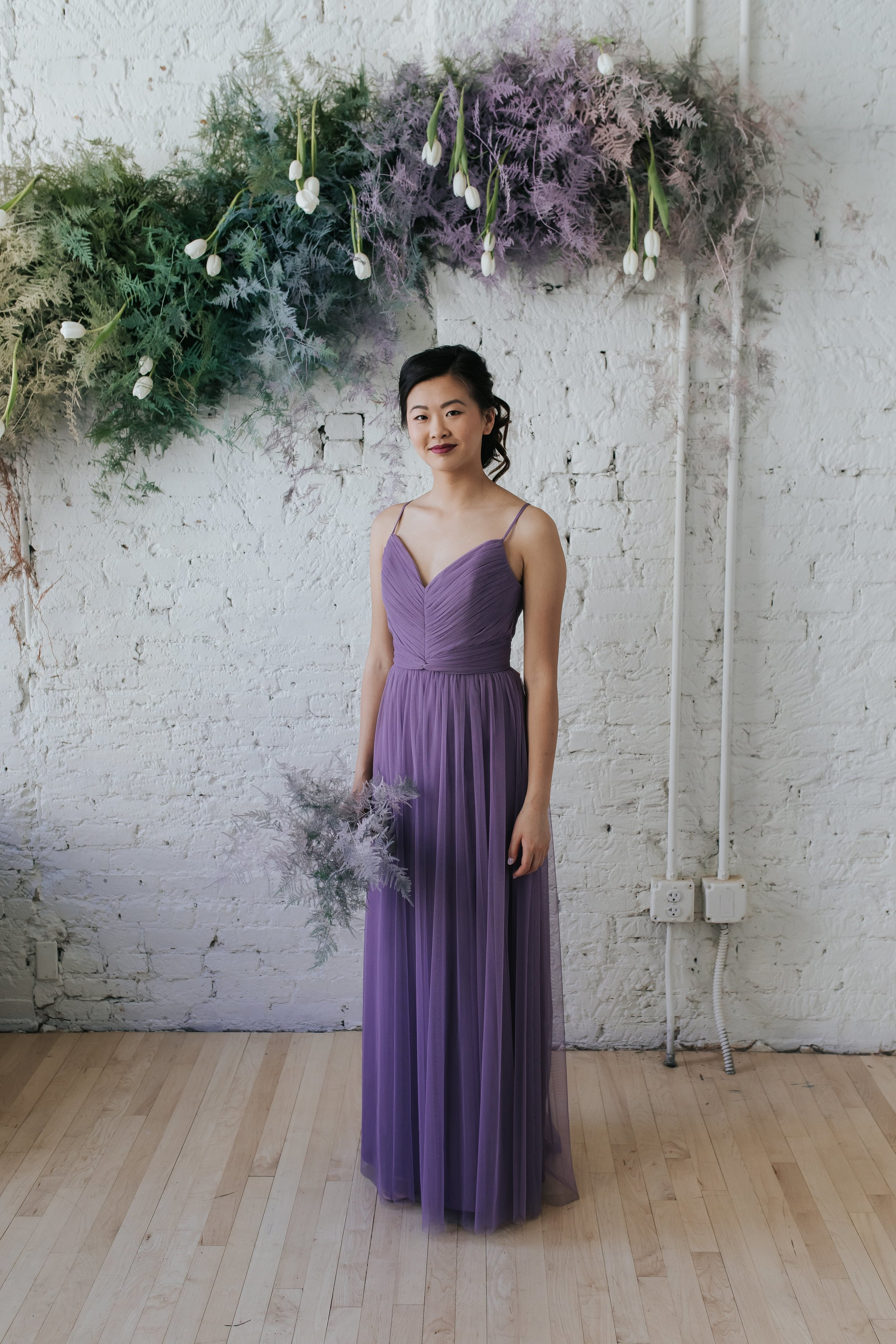 Riley by Amsale Bridesmaids in tulle featured in Gilded Social styled shoot in Columbus Ohio