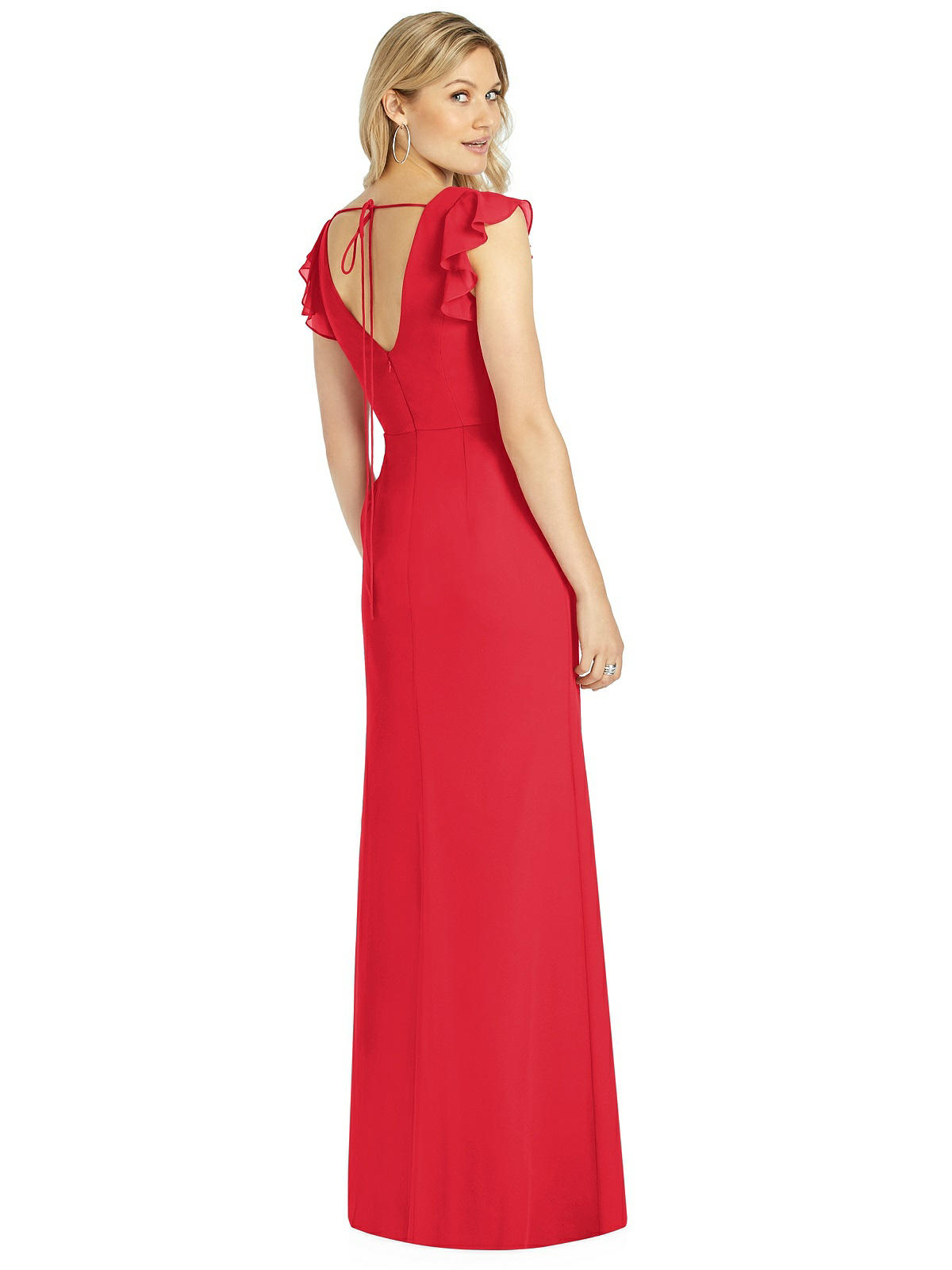 Back of 6810 in Parisian Red with tie back and ruffle detail