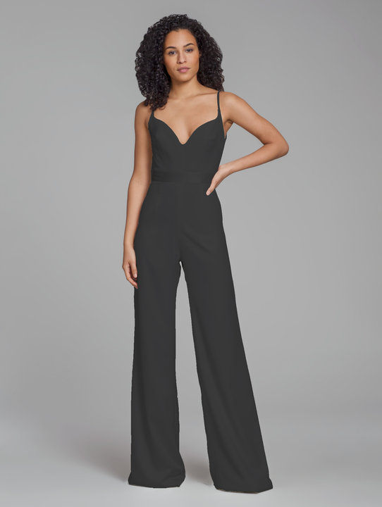 Hayley Paige Occasions Bridesmaids Style 5868 jumpsuit in black crepe