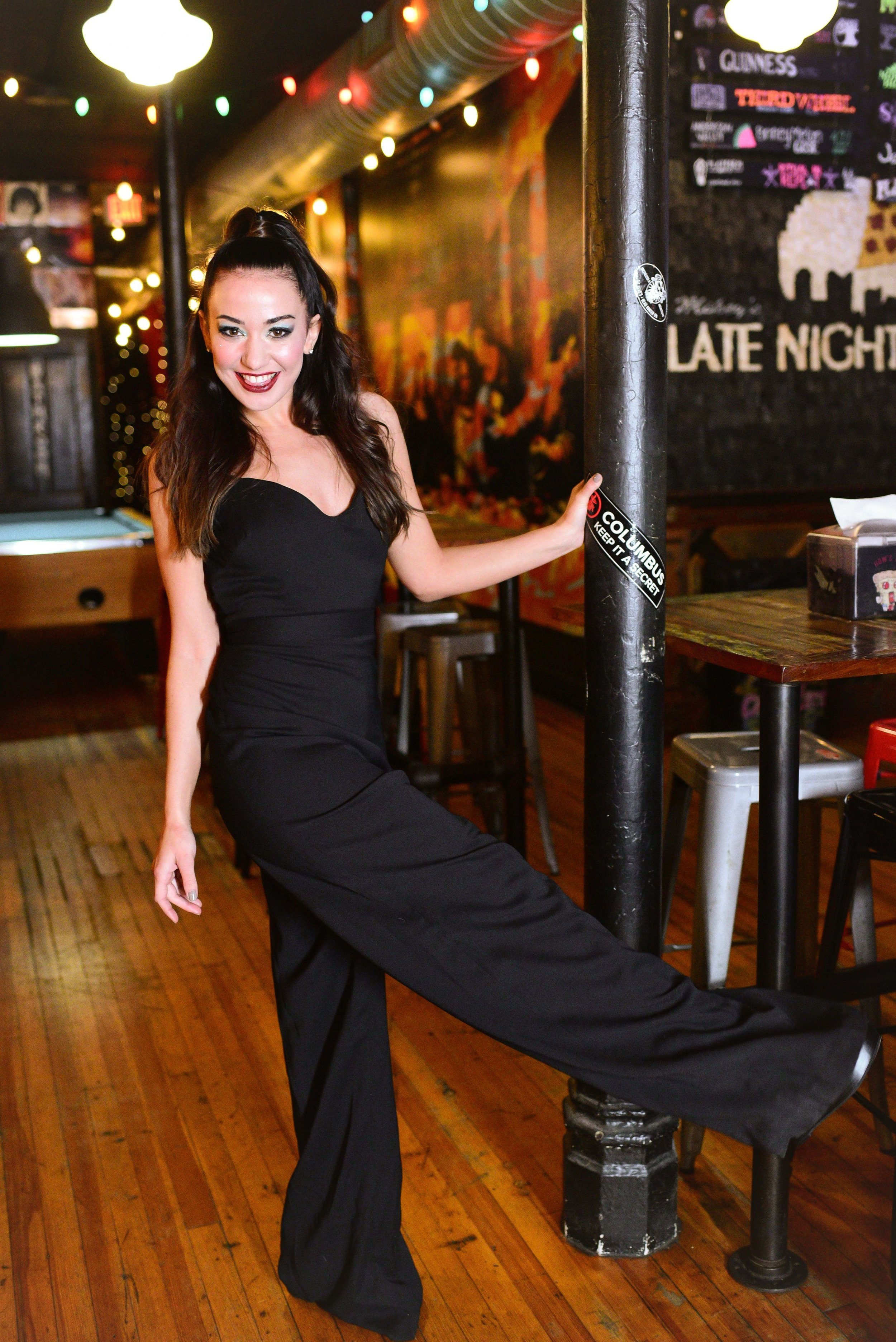 Hayley Paige Occasions jumpsuit in black crepe leg kick