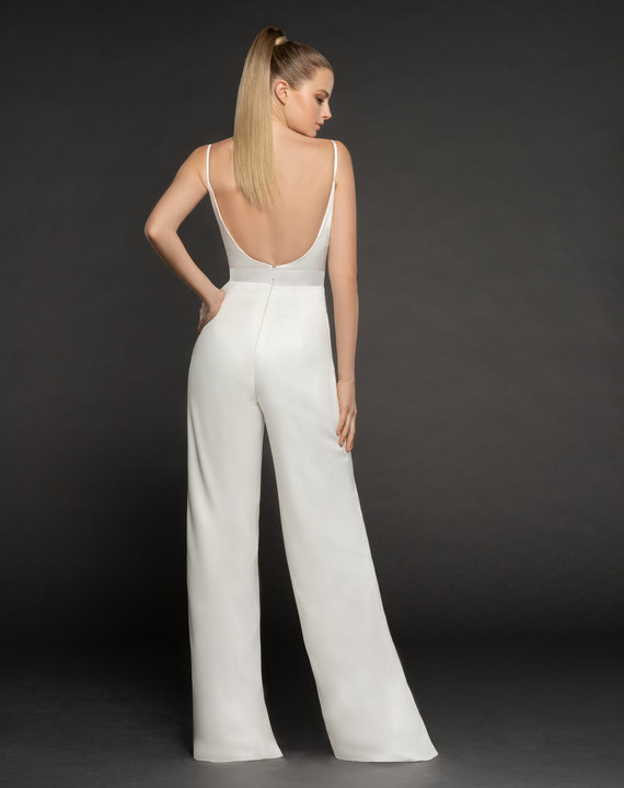 Back of jumpsuit in crepe by Hayley Paige Occasions style 5868 in ivory