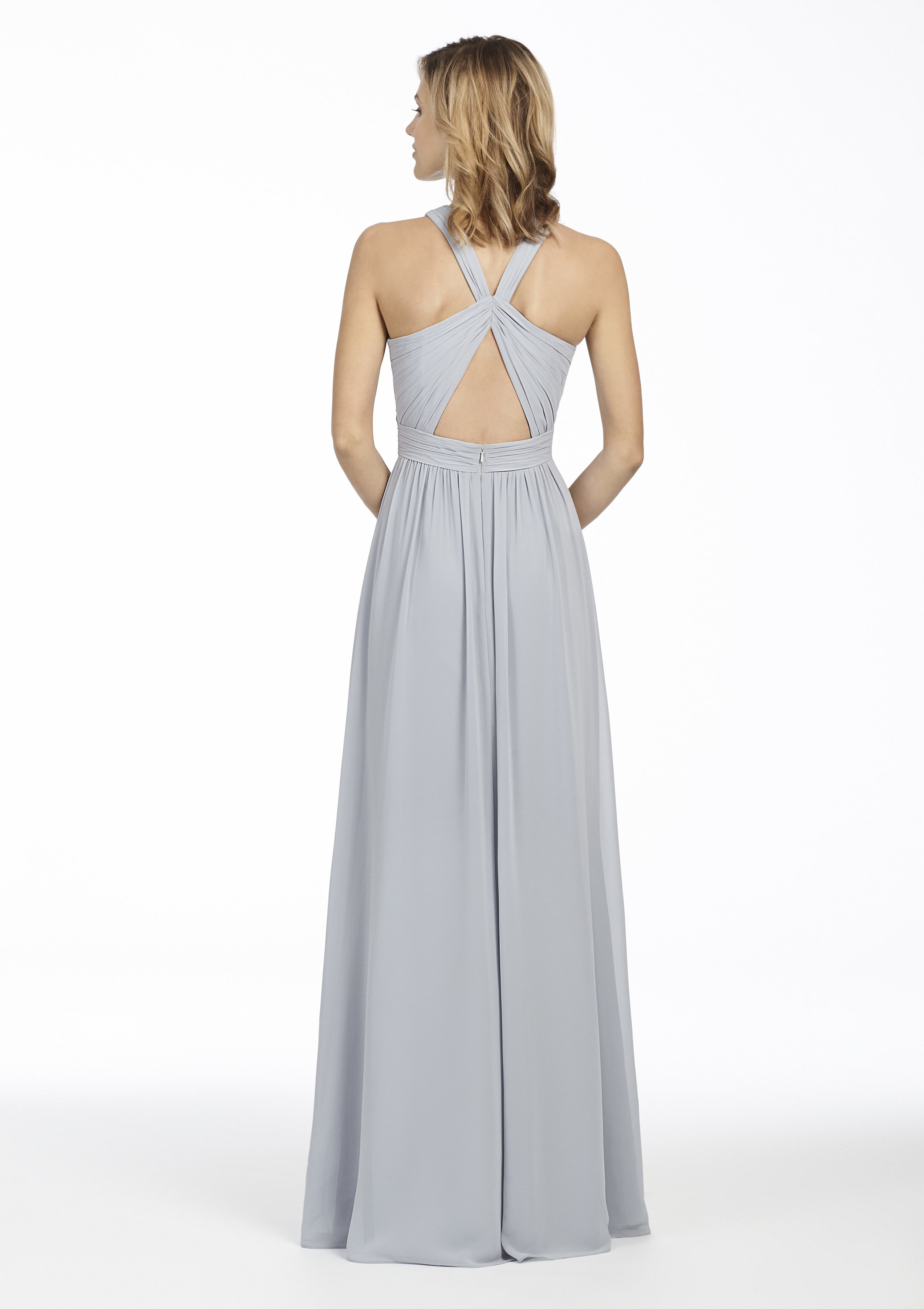 Back of Hayley Paige Occasions open back bridesmaid dress in platinum chiffon