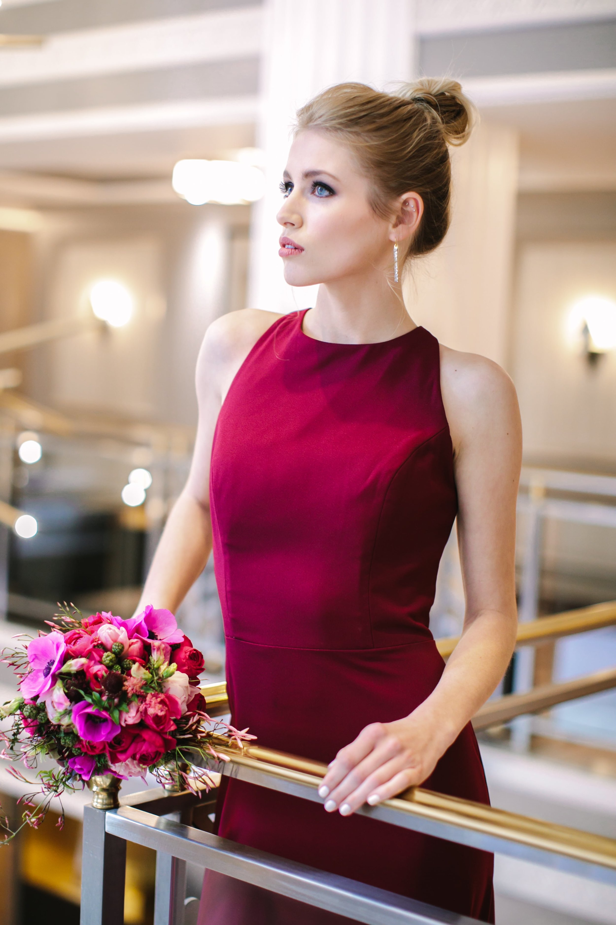 Styled Shoot photo featuring Hayley Paige Occasions style 5816 in Burgundy