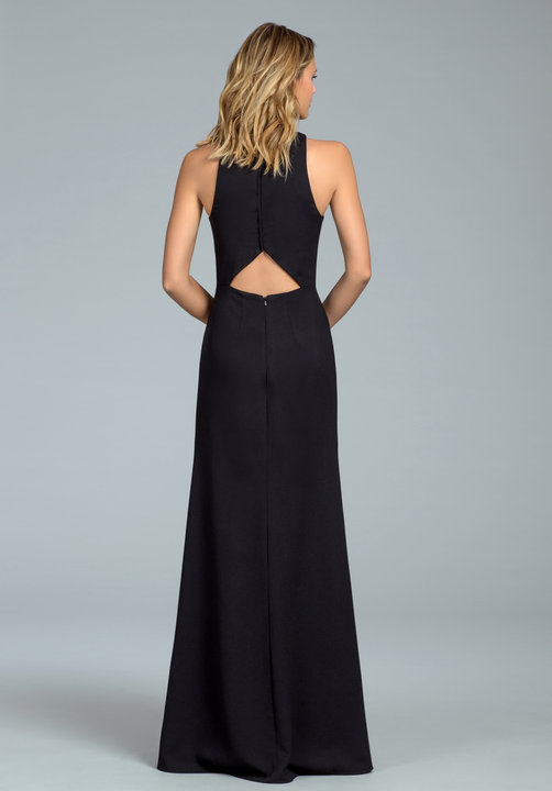 Back with cut out at low back on 5816 style in black crepe by Hayley Paige Occasions
