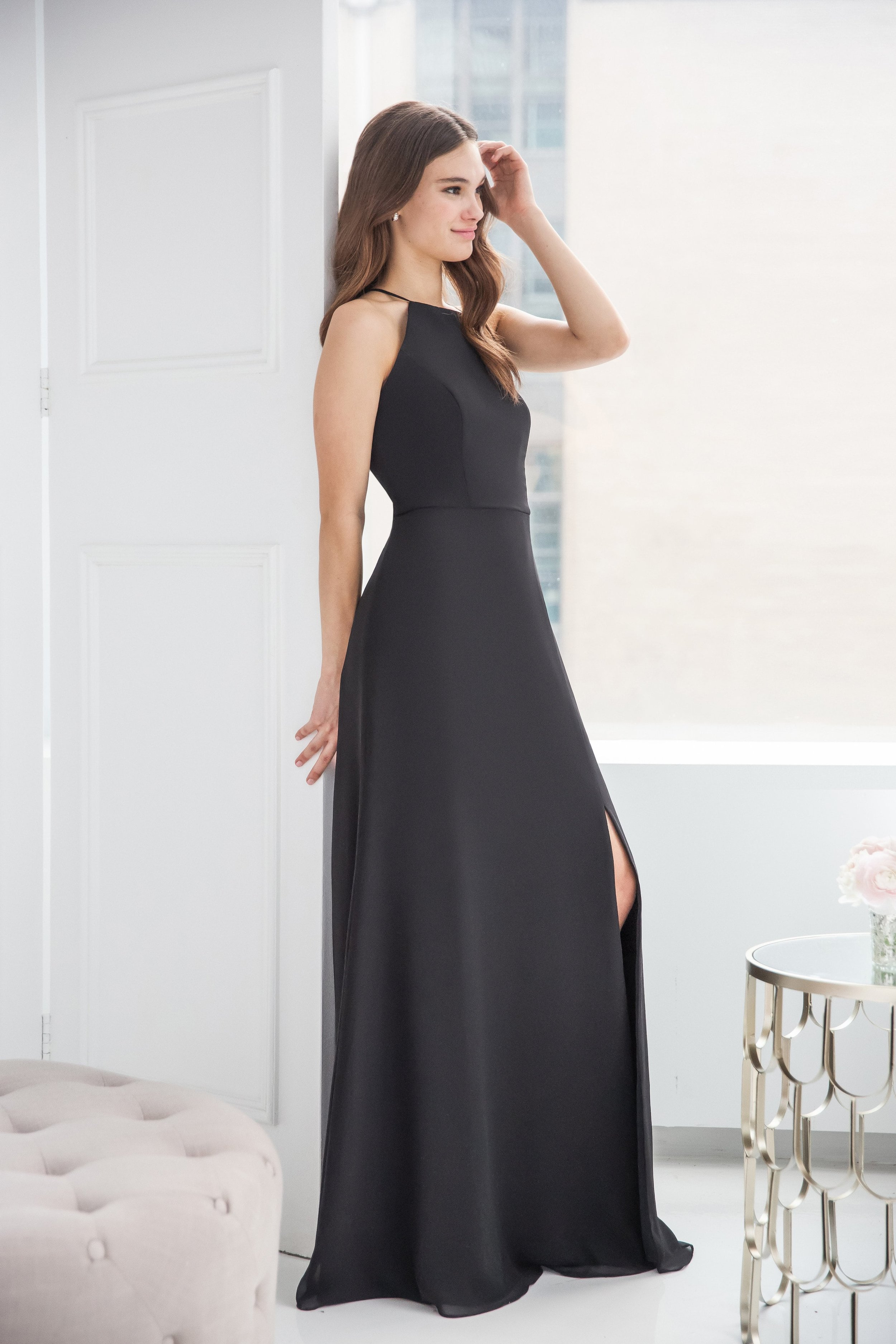 Hayley Paige Occasions high neck slit chiffon style 5918 in black