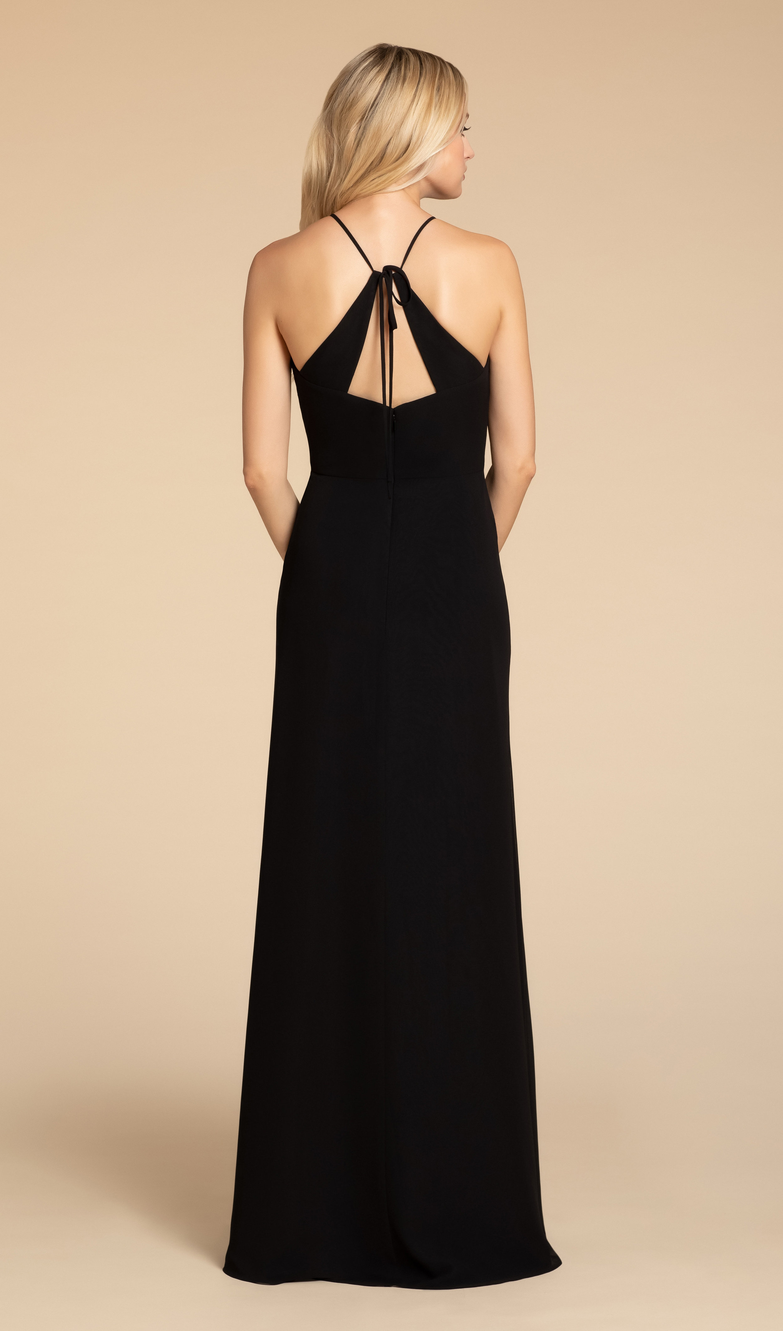 Tie back detail of Hayley Paige Occasions bridesmaid dress in black chiffon