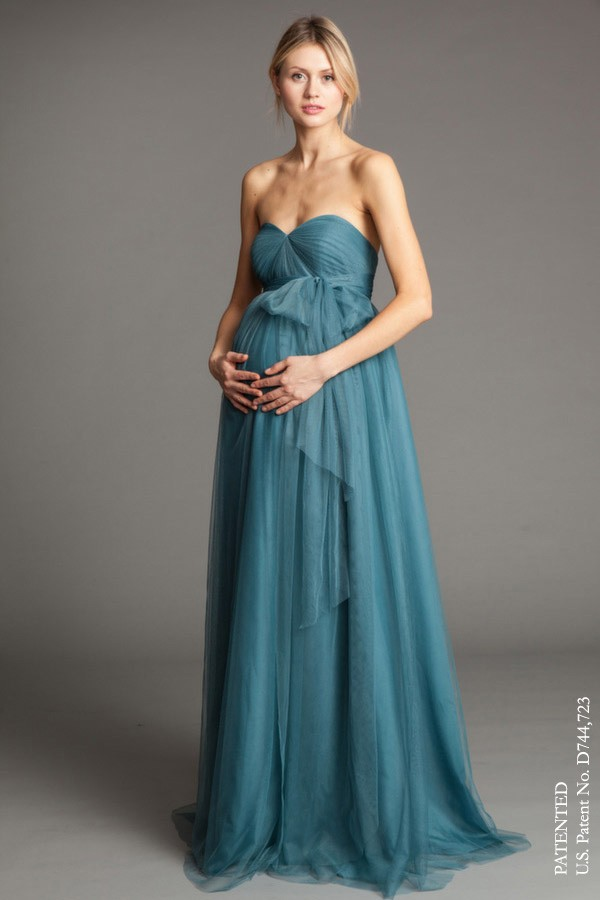 Maternity version of Annabelle, style Serafina by Jenny Yoo Bridesmaids in Vintage Teal tulle