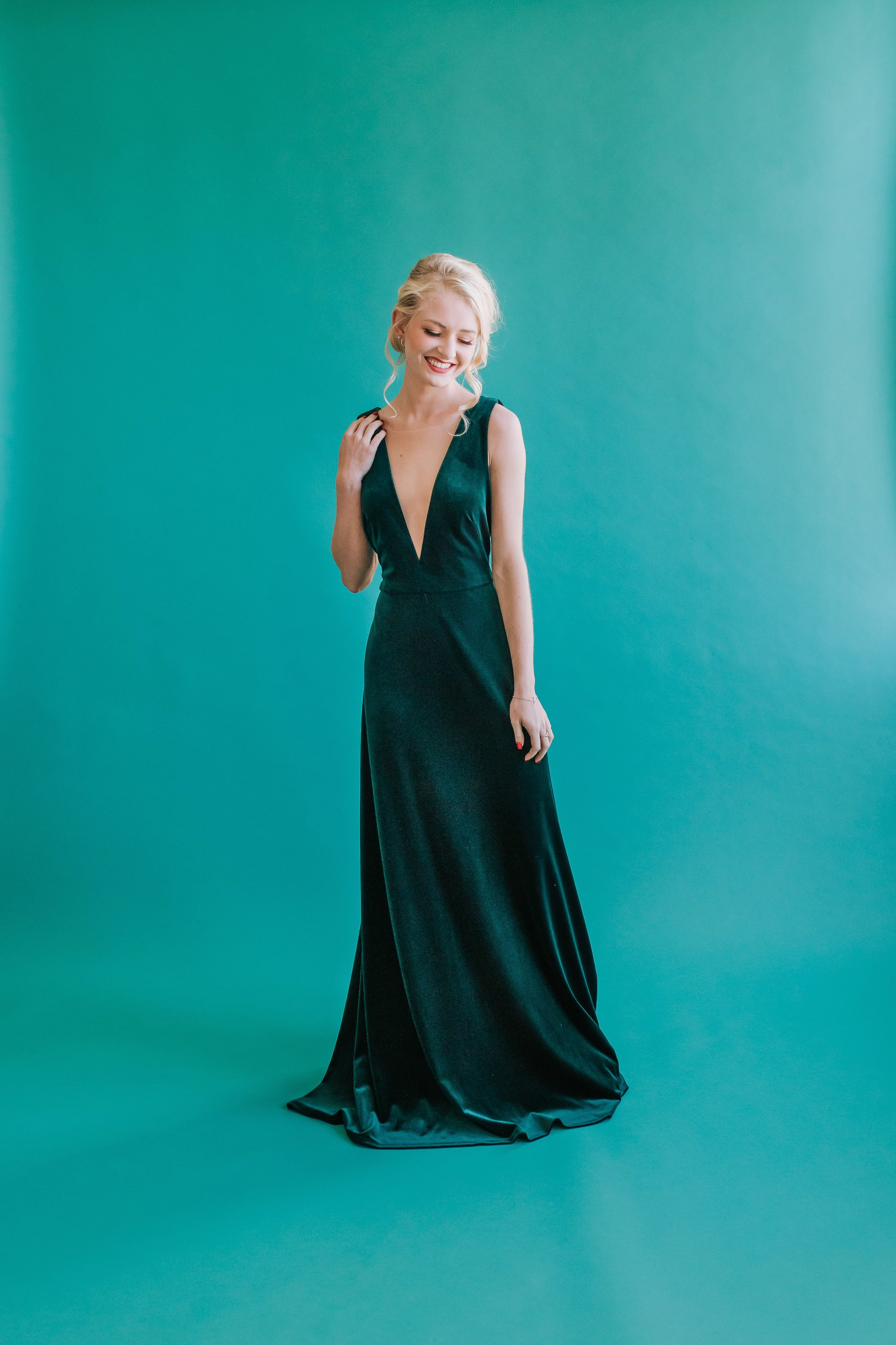 Emerald stretch velvet style Logan with Deep V Detail by Jenny Yoo Bridesmaids