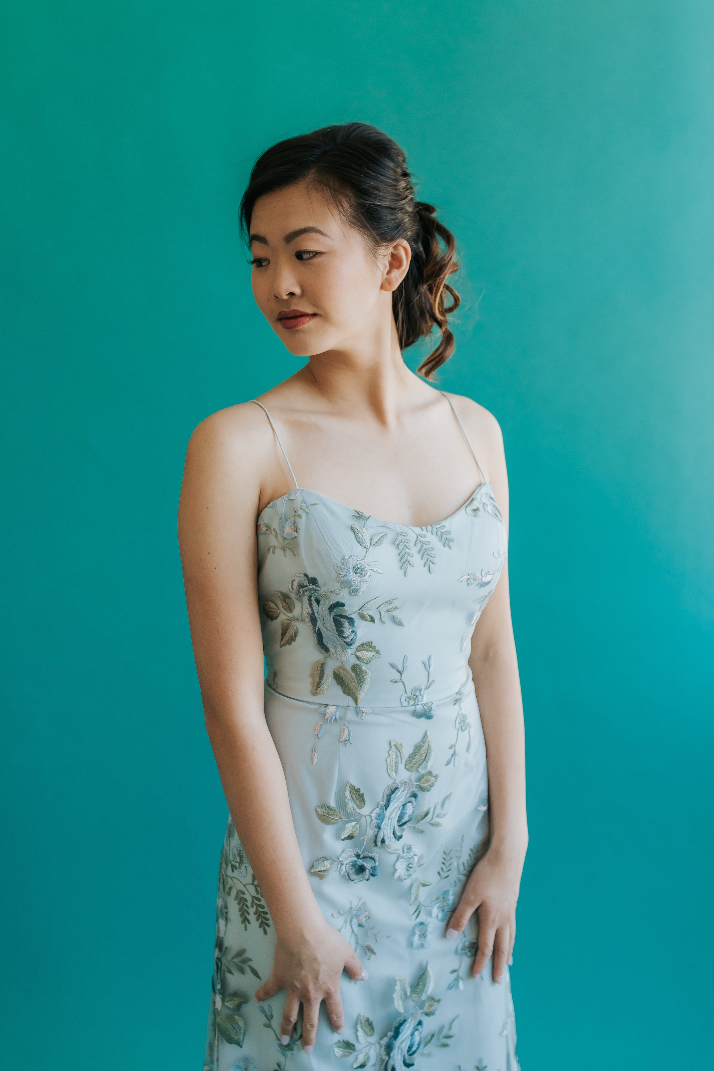 Close up of Drew dress in styled shoot in Columbus Ohio by Jenny Yoo Bridesmaids