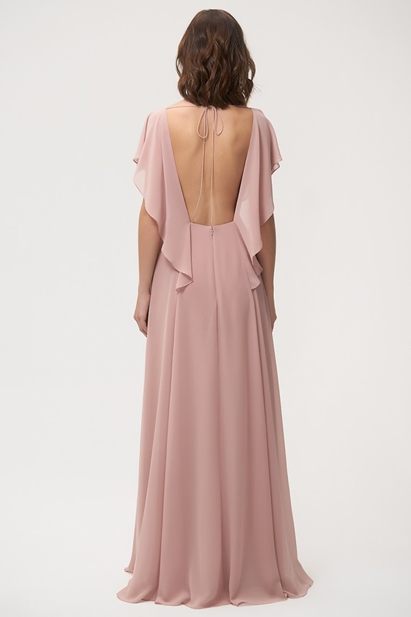 Back of Alanna by Jenny Yoo Bridesmaids in whipped apricot chiffon