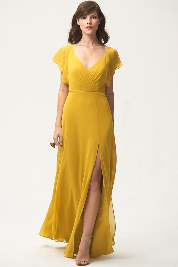 Chartreuse gold mustard yellow dress by Jenny Yoo Bridesmaids style Alanna